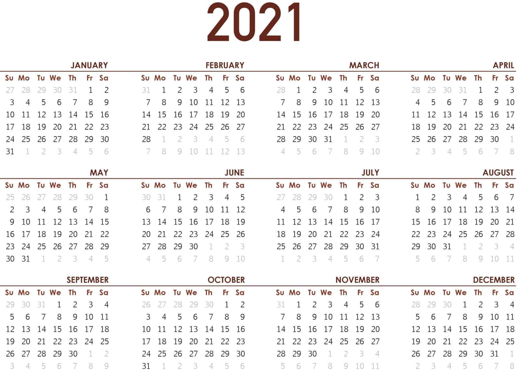 Small Yearly Calendar 2021 Printable