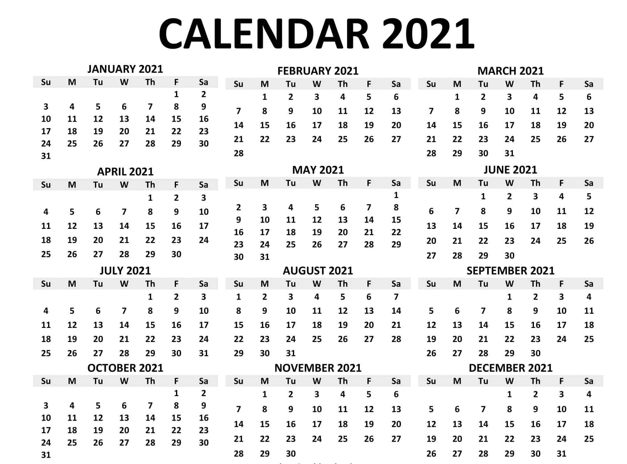Year At A Glance Calendar 2021 Free Printable