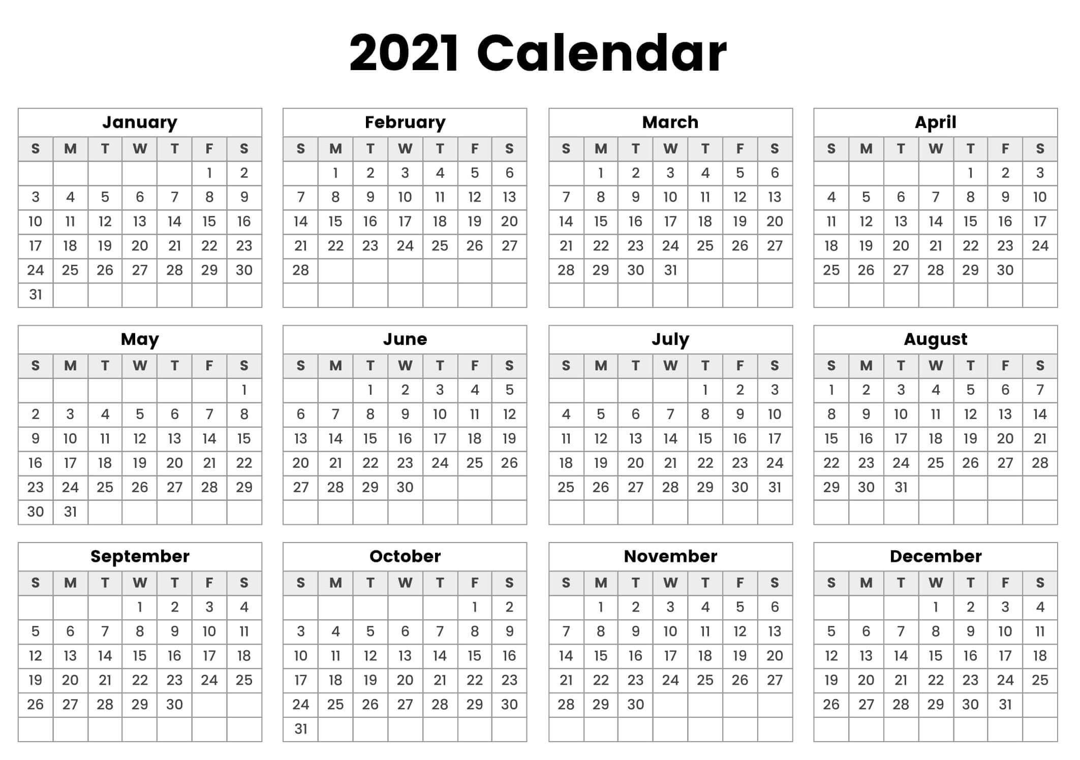 Year At A Glance Calendar 2021 Printable Free
