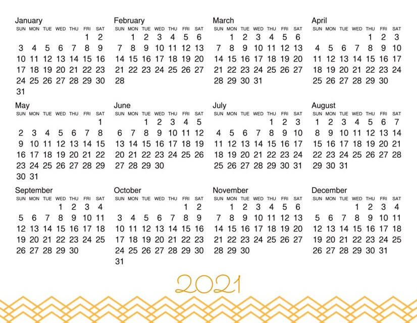 Year At A Glance Calendar 2021 Printable
