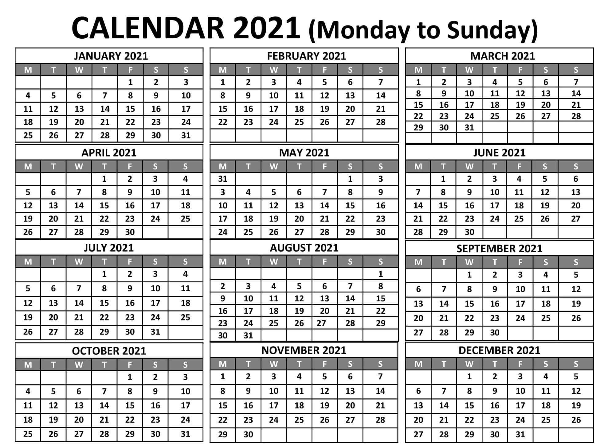Year Calendar 2021 Monday To Sunday