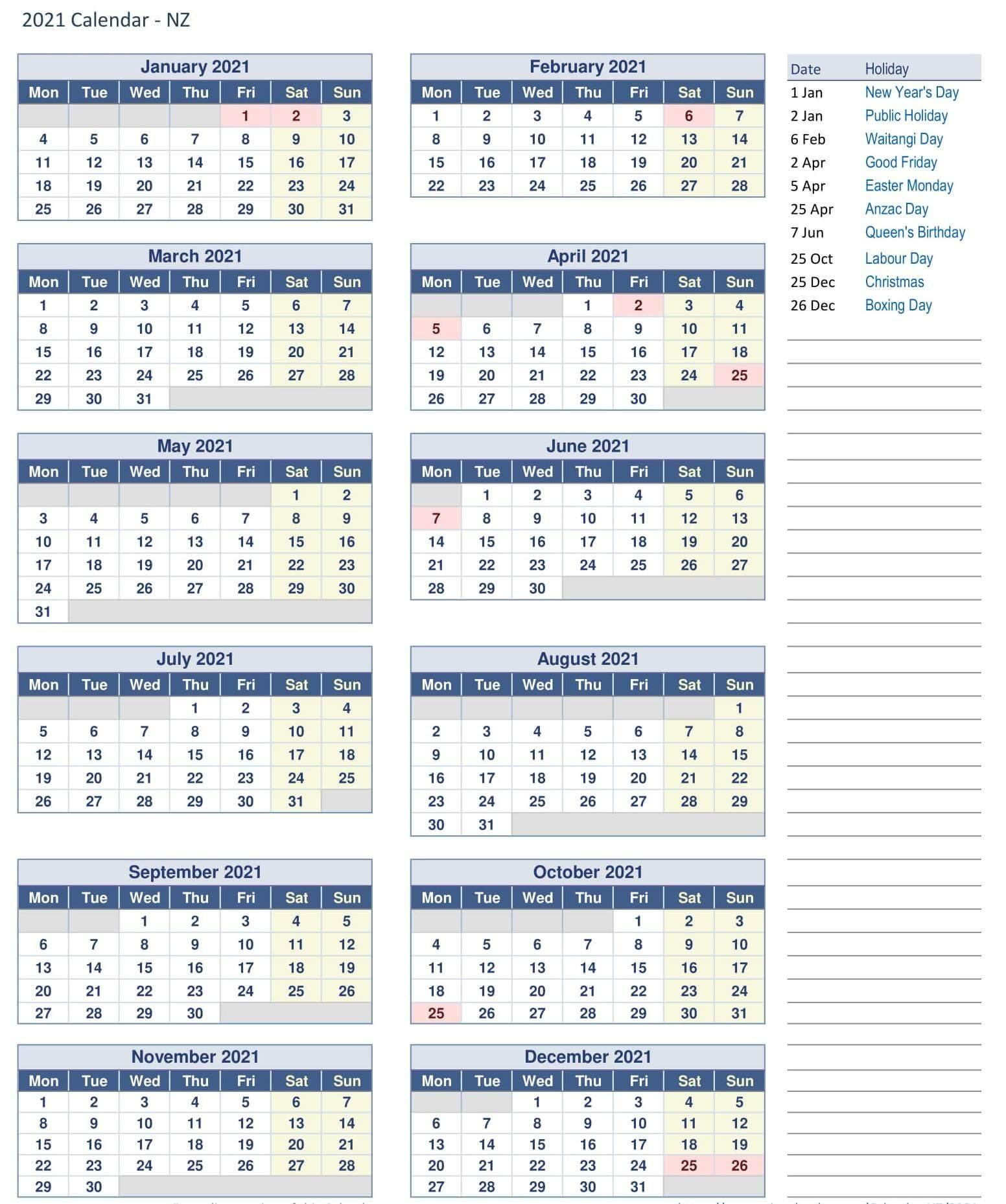 Year Calendar 2021 New Zealand