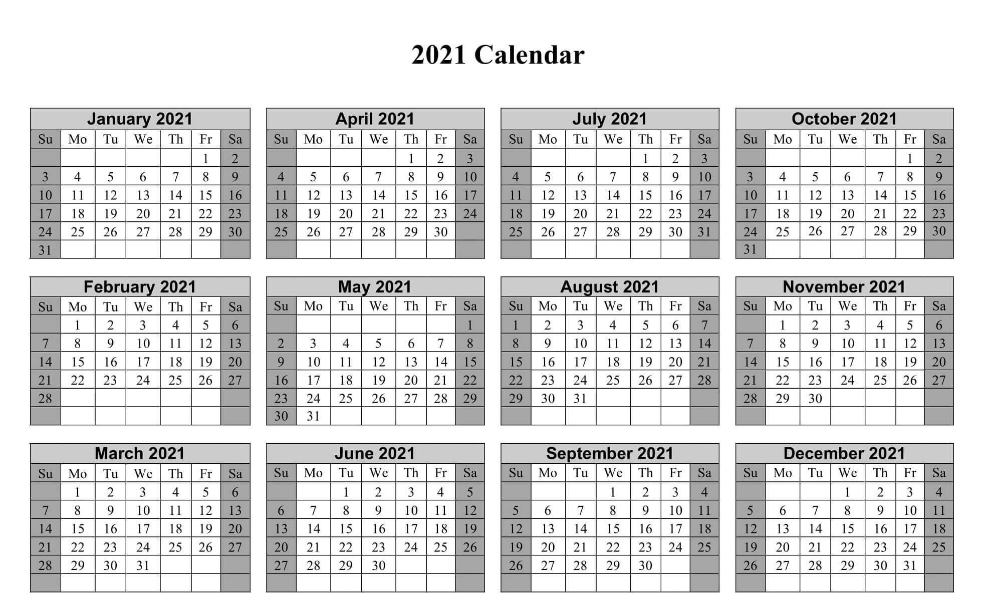 Year Calendar 2021 Print Out