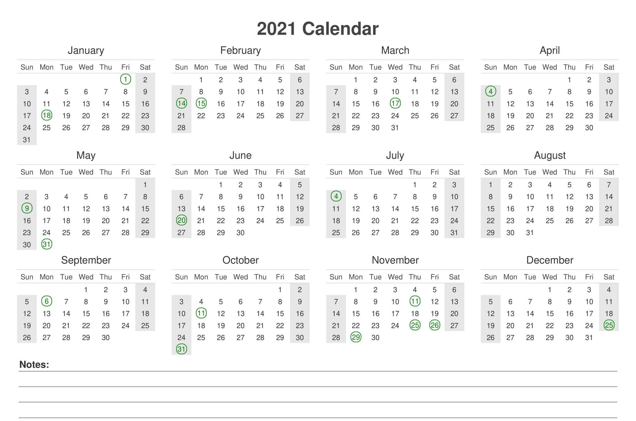 Year Calendar 2021 Printable PDF