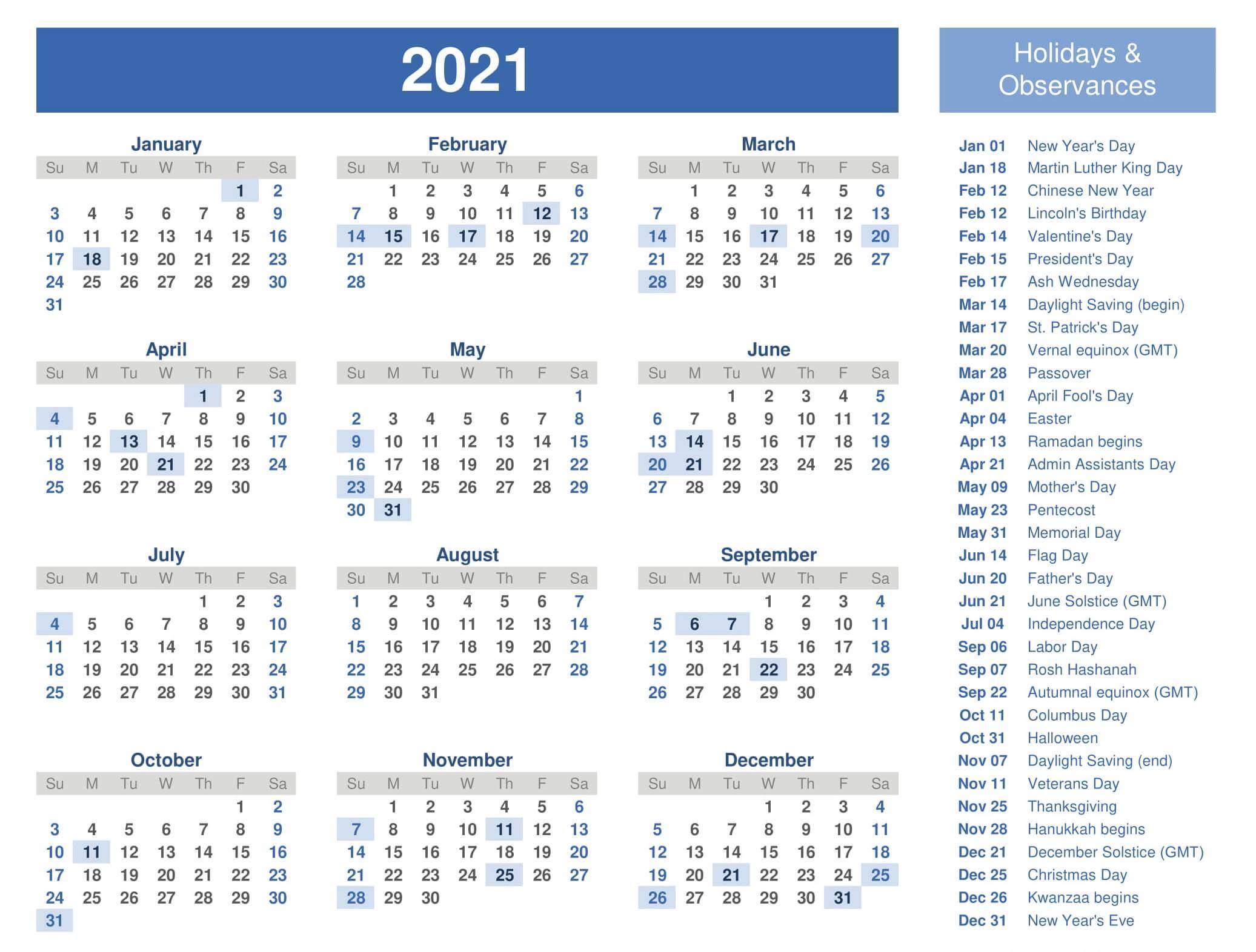 Year Calendar 2021 With Holidays