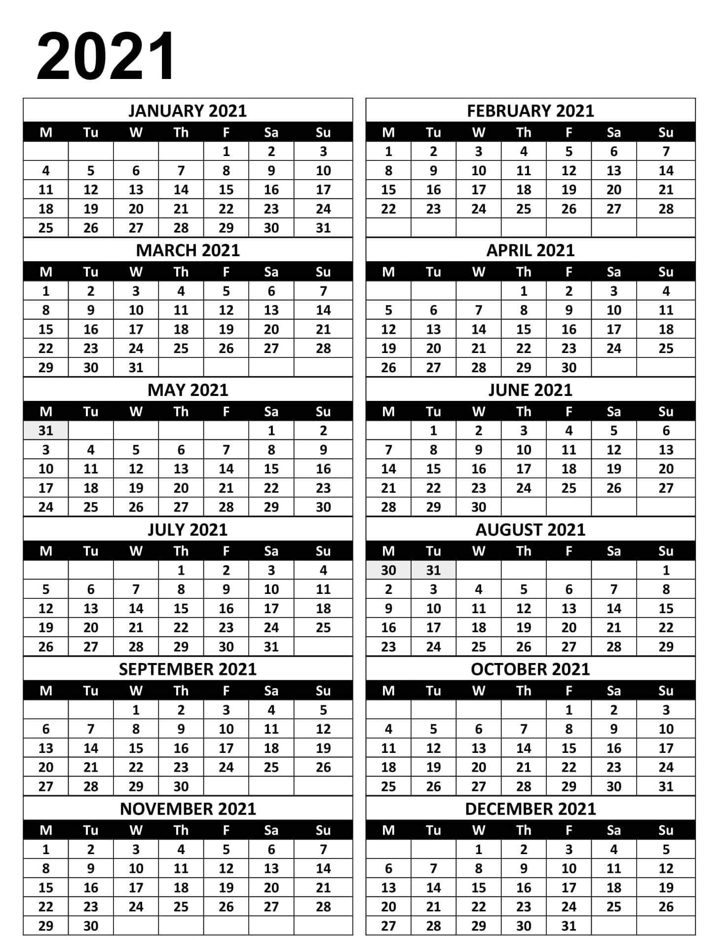 Yearly Calendar 2021 Monday Start