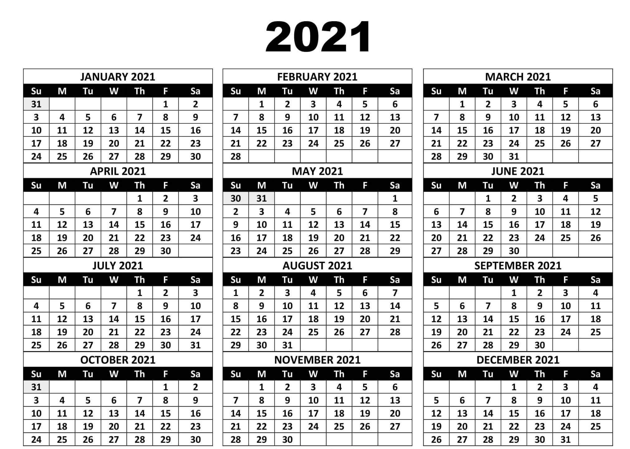Yearly Calendar 2021 Print