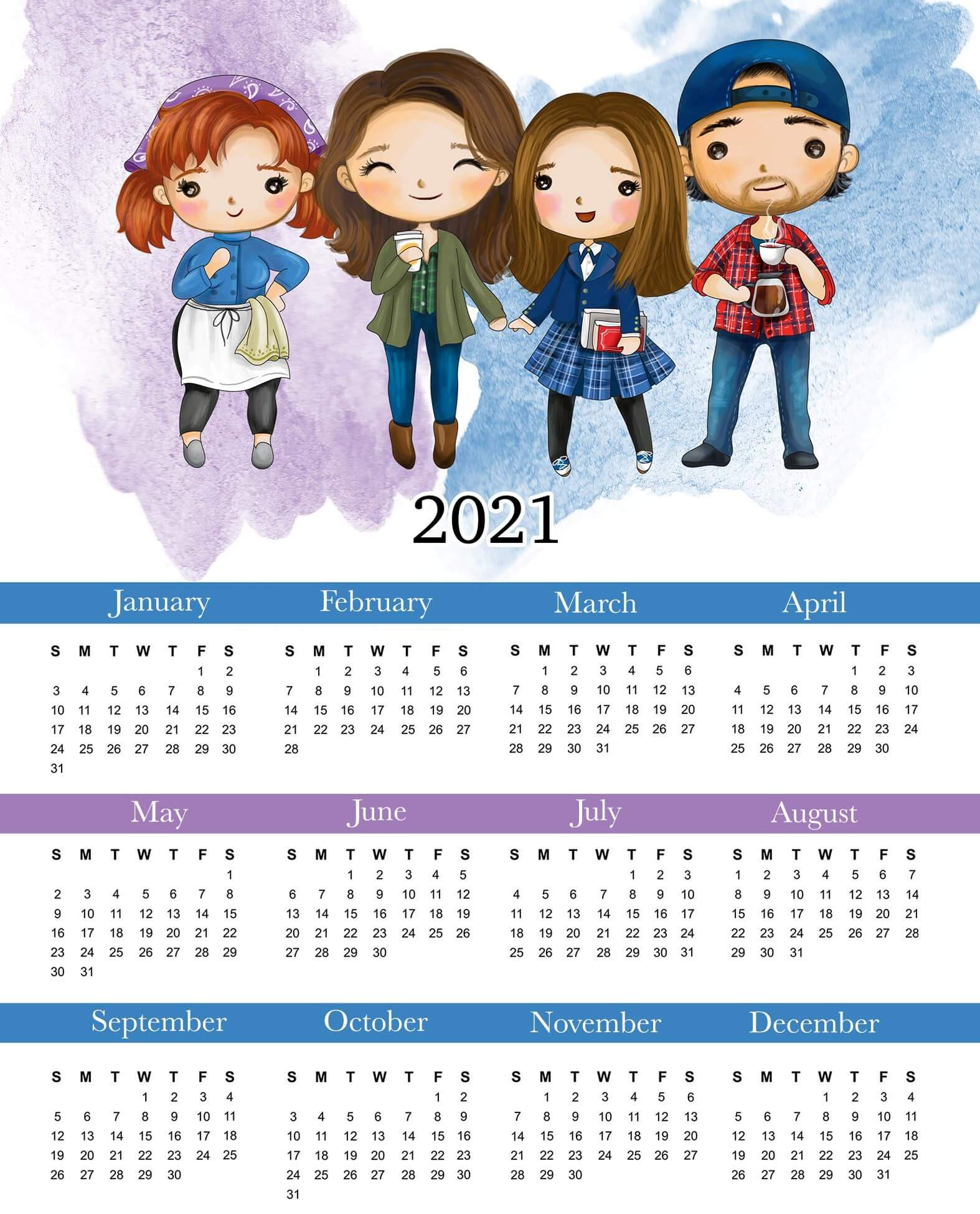 Yearly Calendar 2021 Printable Cute