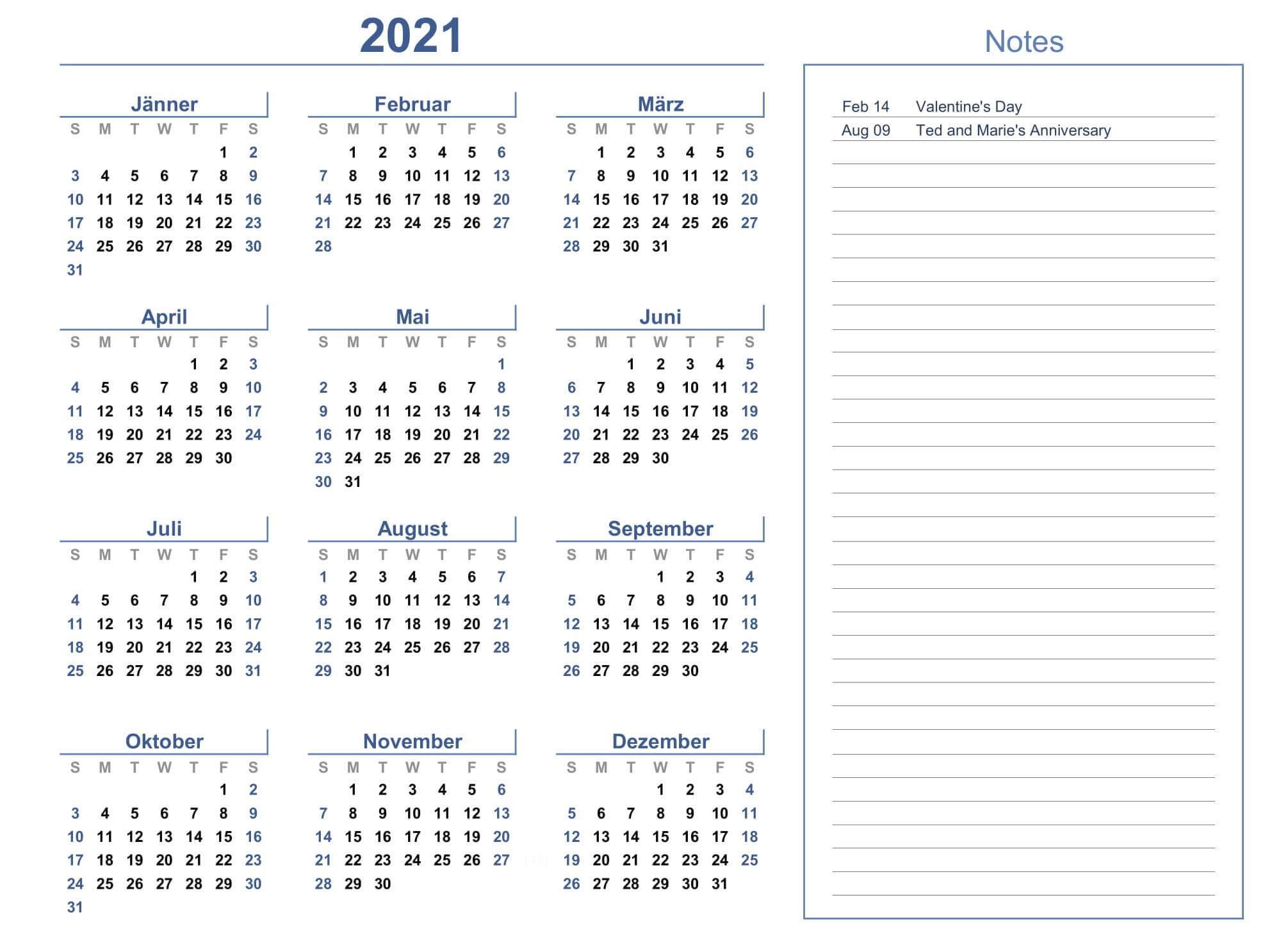 Yearly Calendar Planner 2021