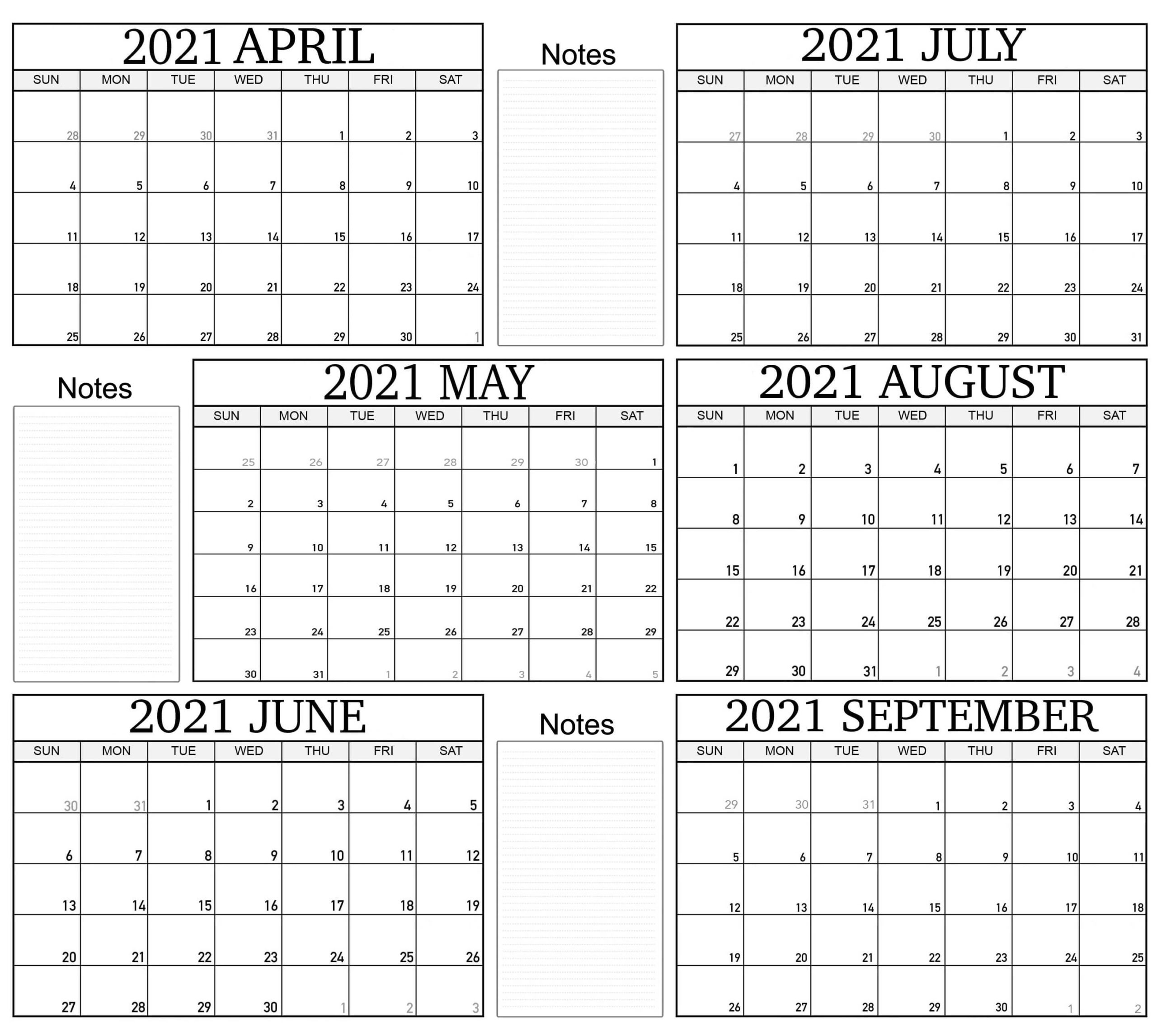 2021 April to September Calendar With Note