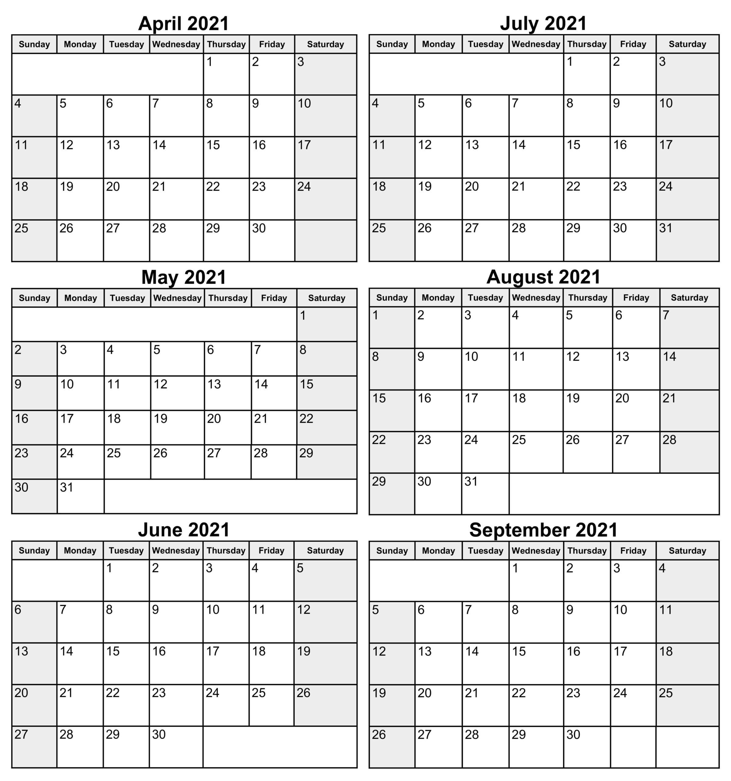 6 Month Calendar From April 2021