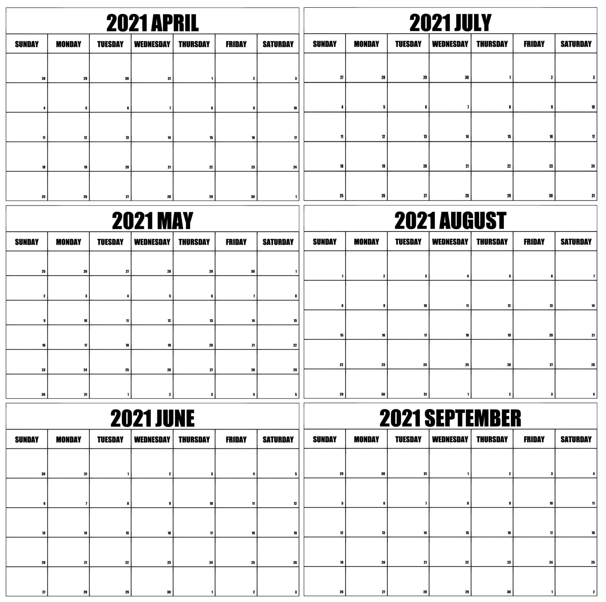 April to September 2021 Calendar With Holidays