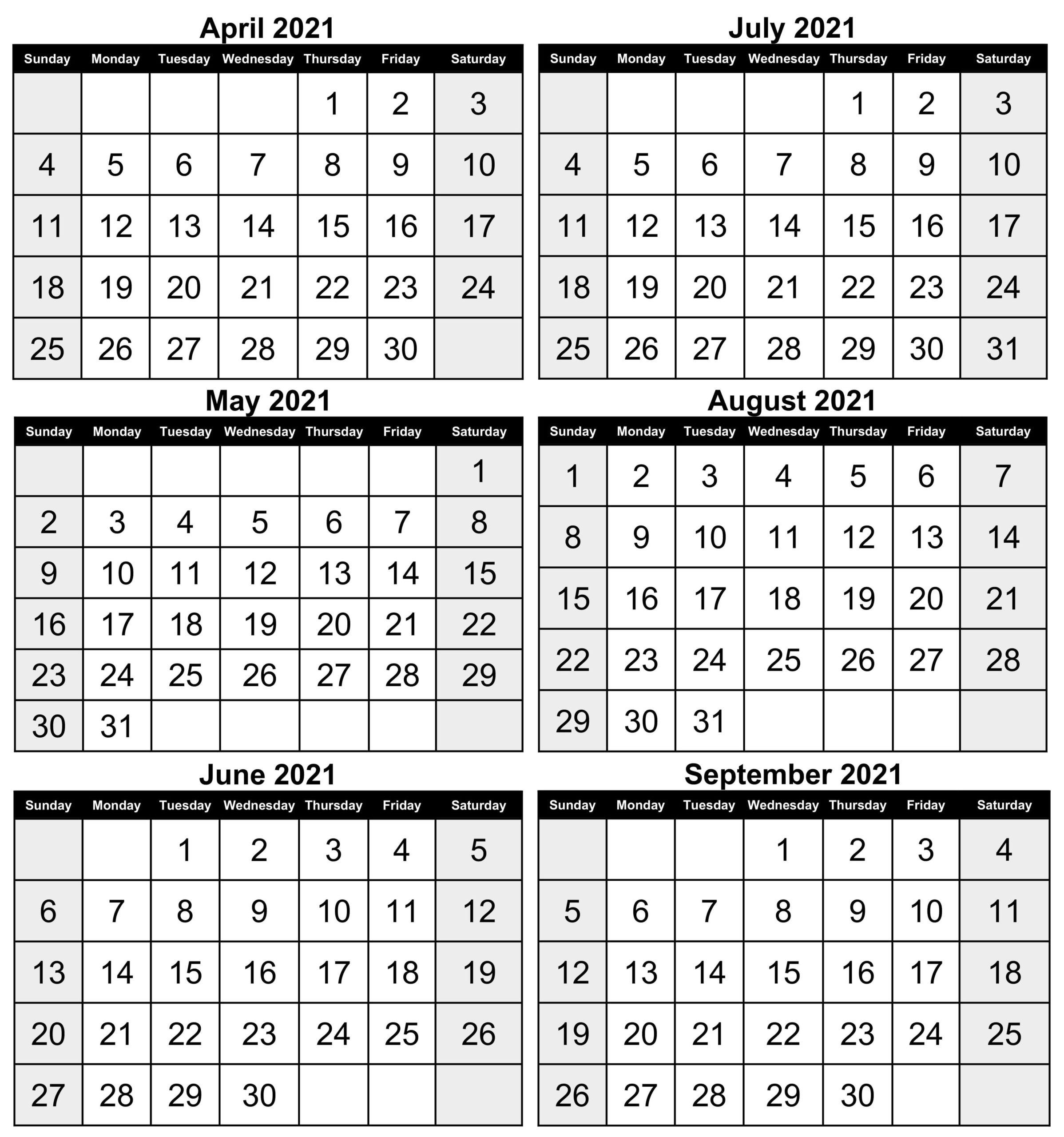 April to September 2021 Calendar Word