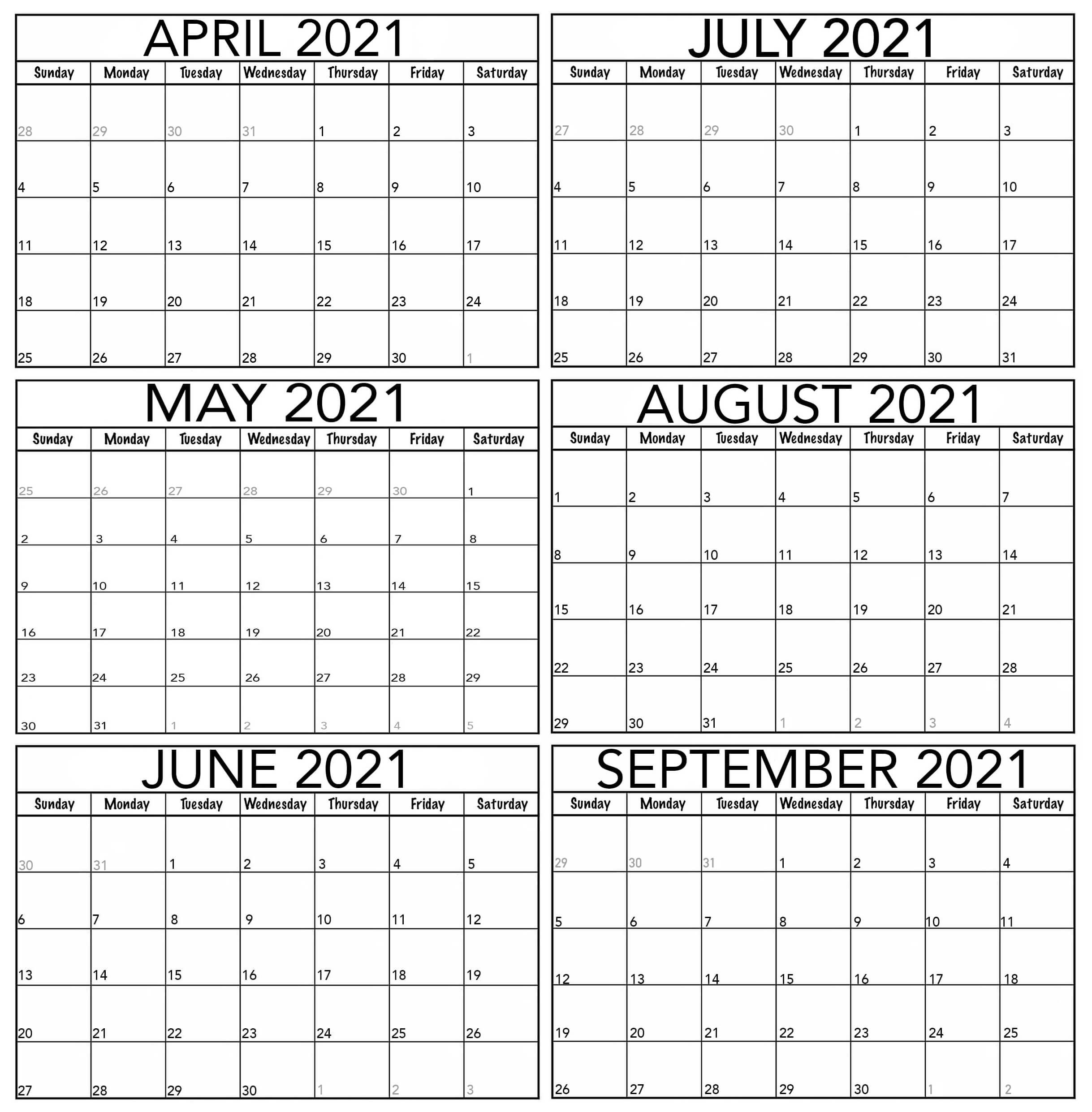 April to September 2021 Calendar