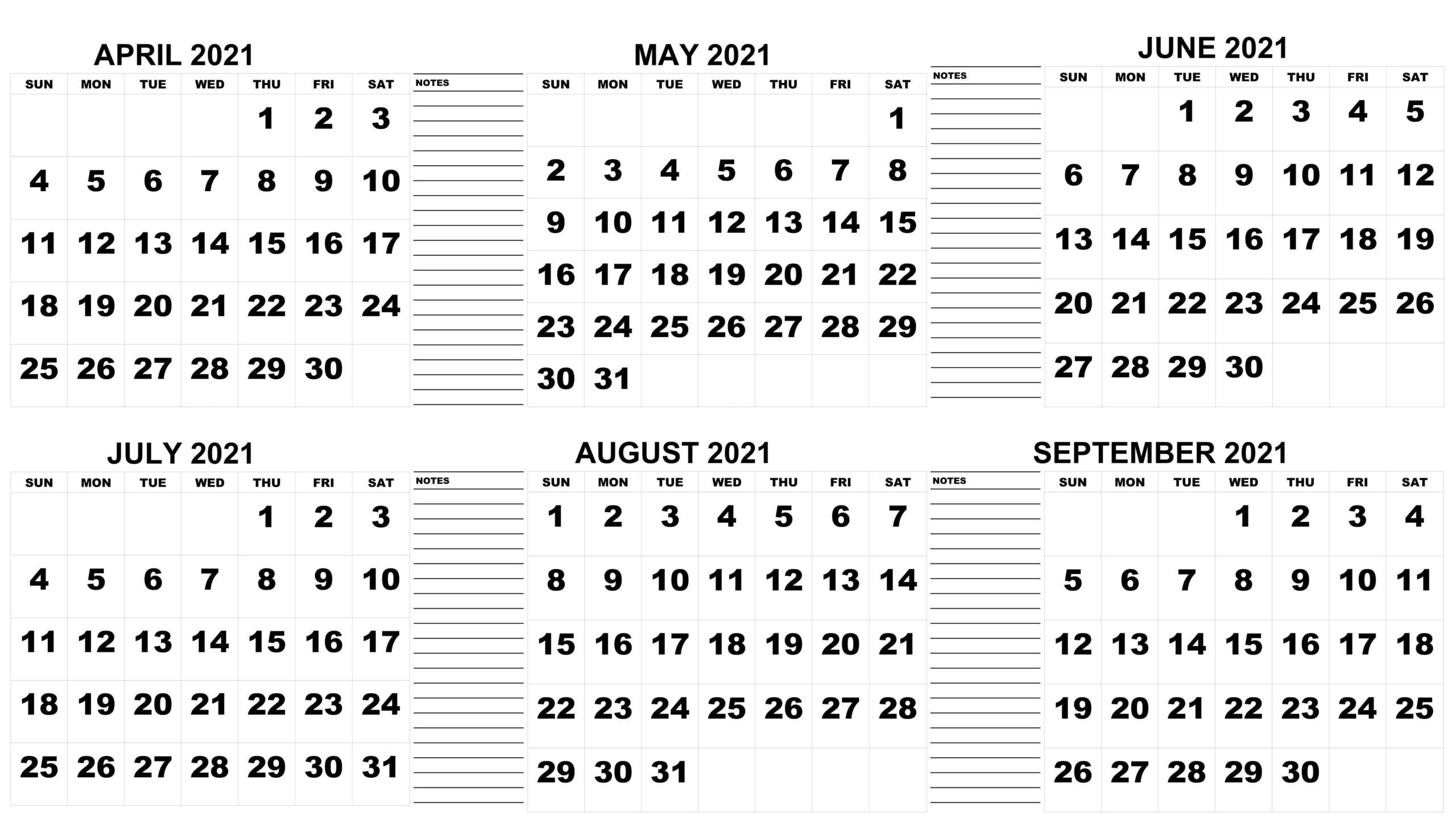 Blank April to September 2021 Calendar