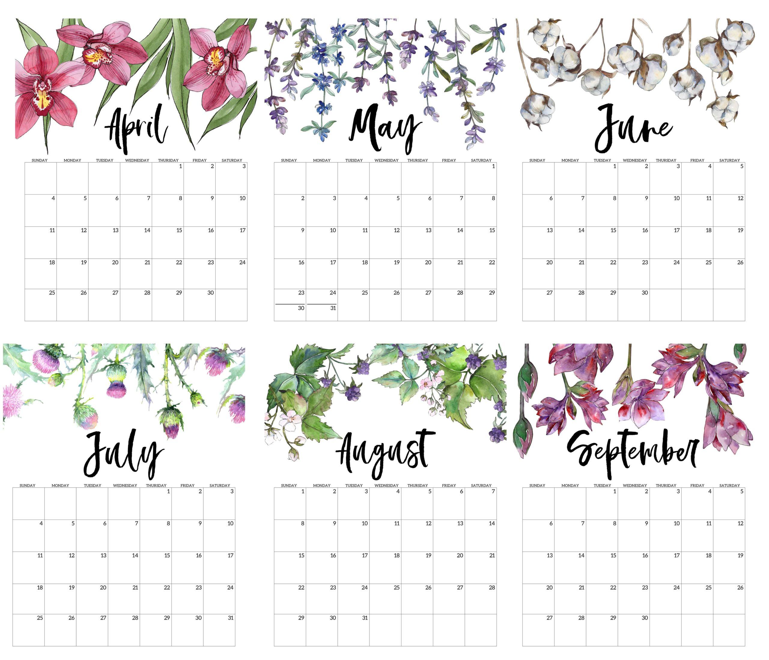 Cute 2021 April to September Calendar