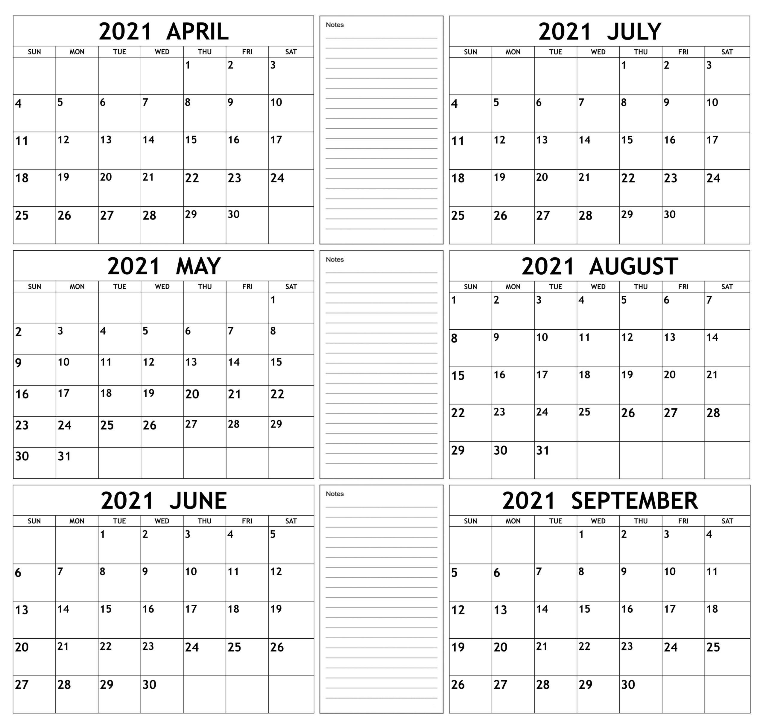 Online April to September 2021 Calendar
