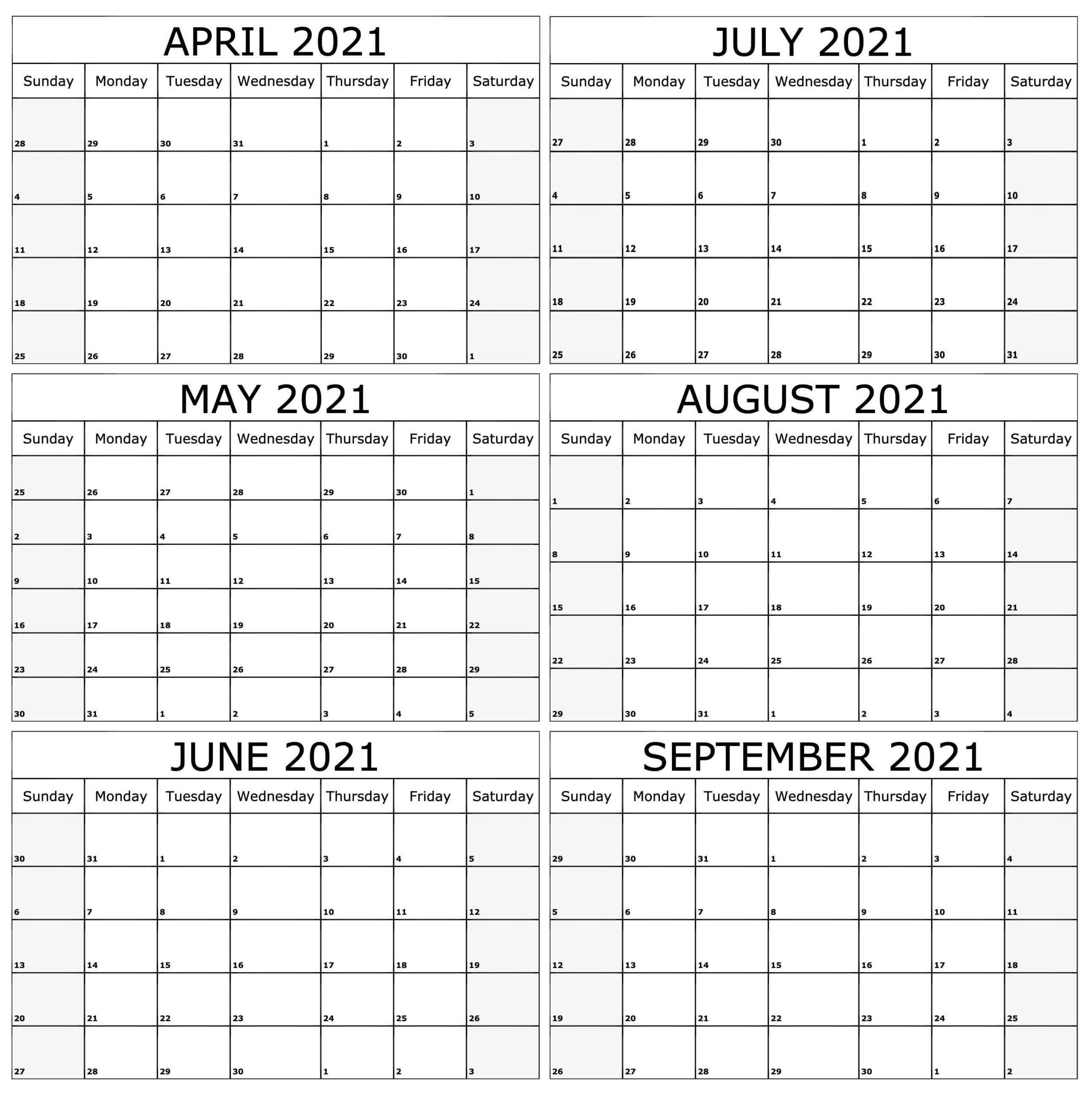 Printable 2021 April to September Calendar