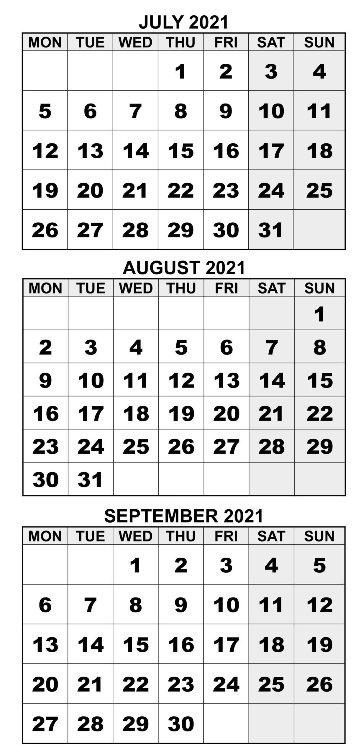 2021 July To September Calendar Excel