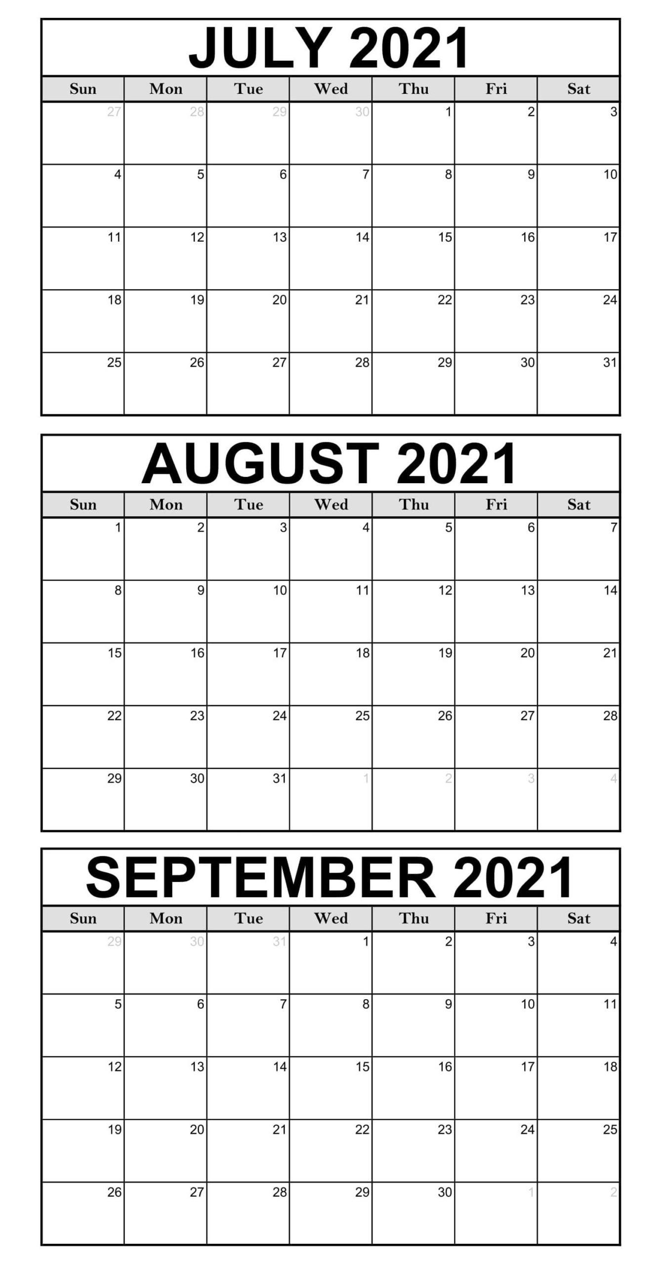 2021 July To September Calendar Free