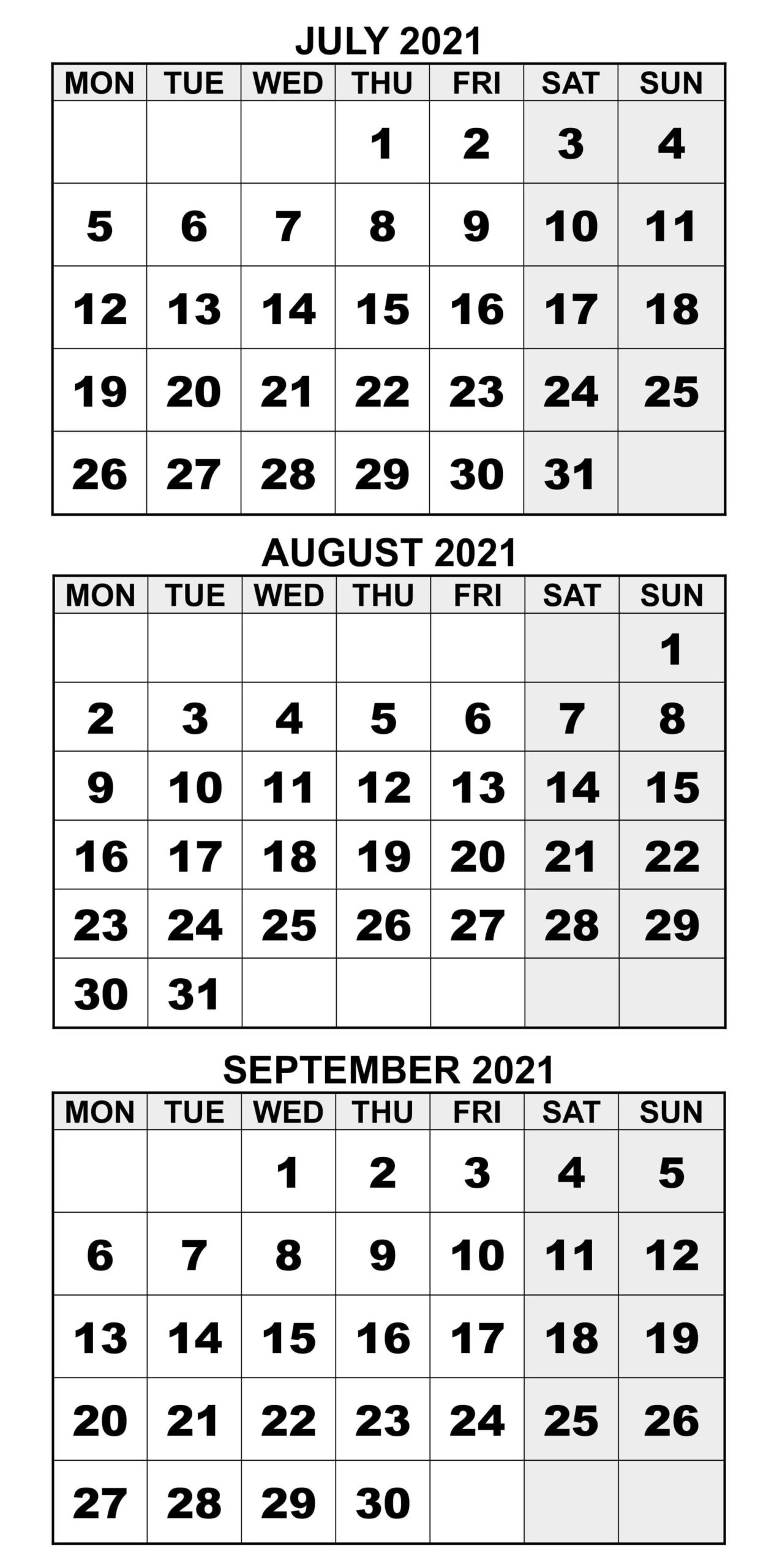 2021 July To September Calendar