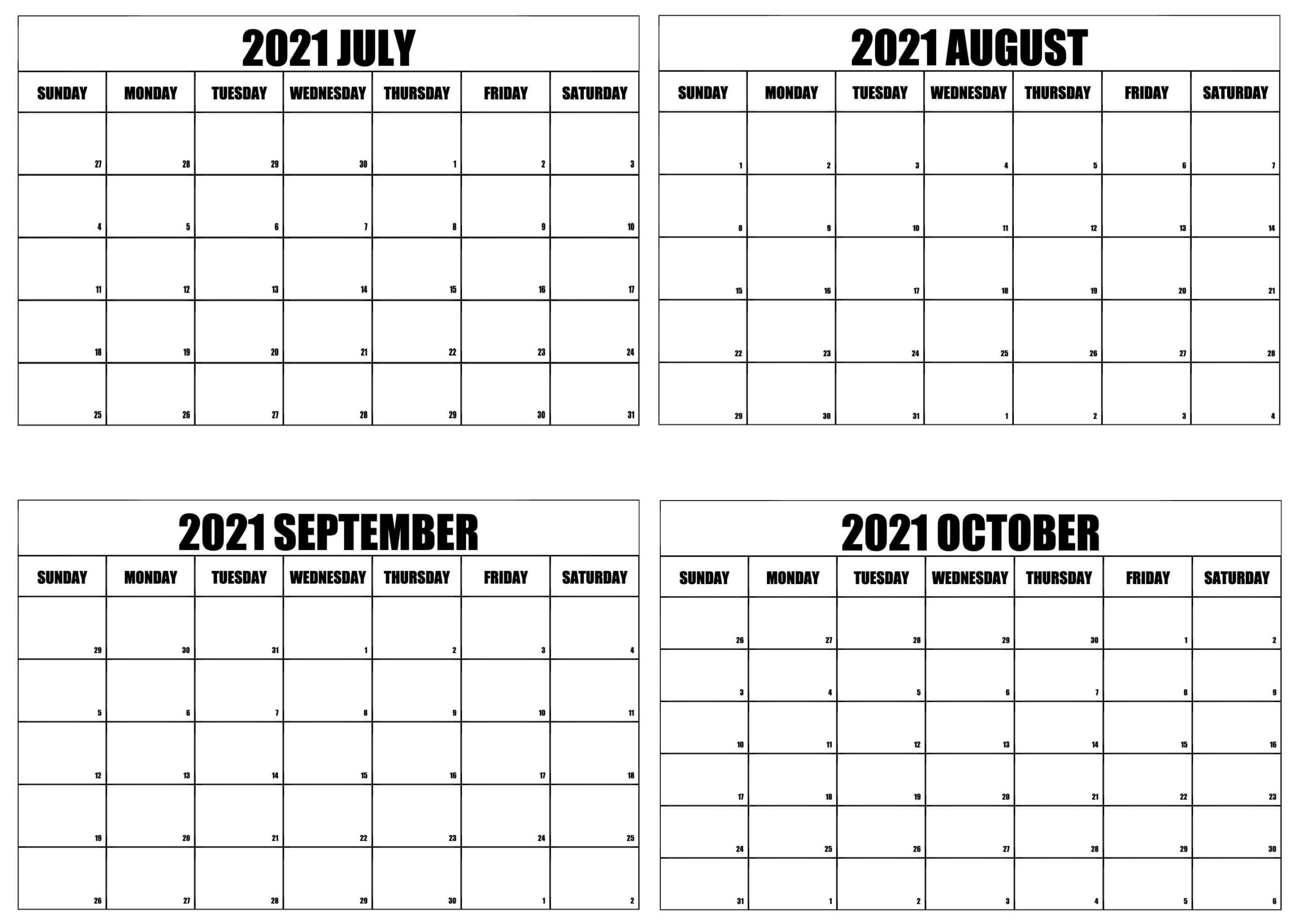 2021 July to October Calendar Word