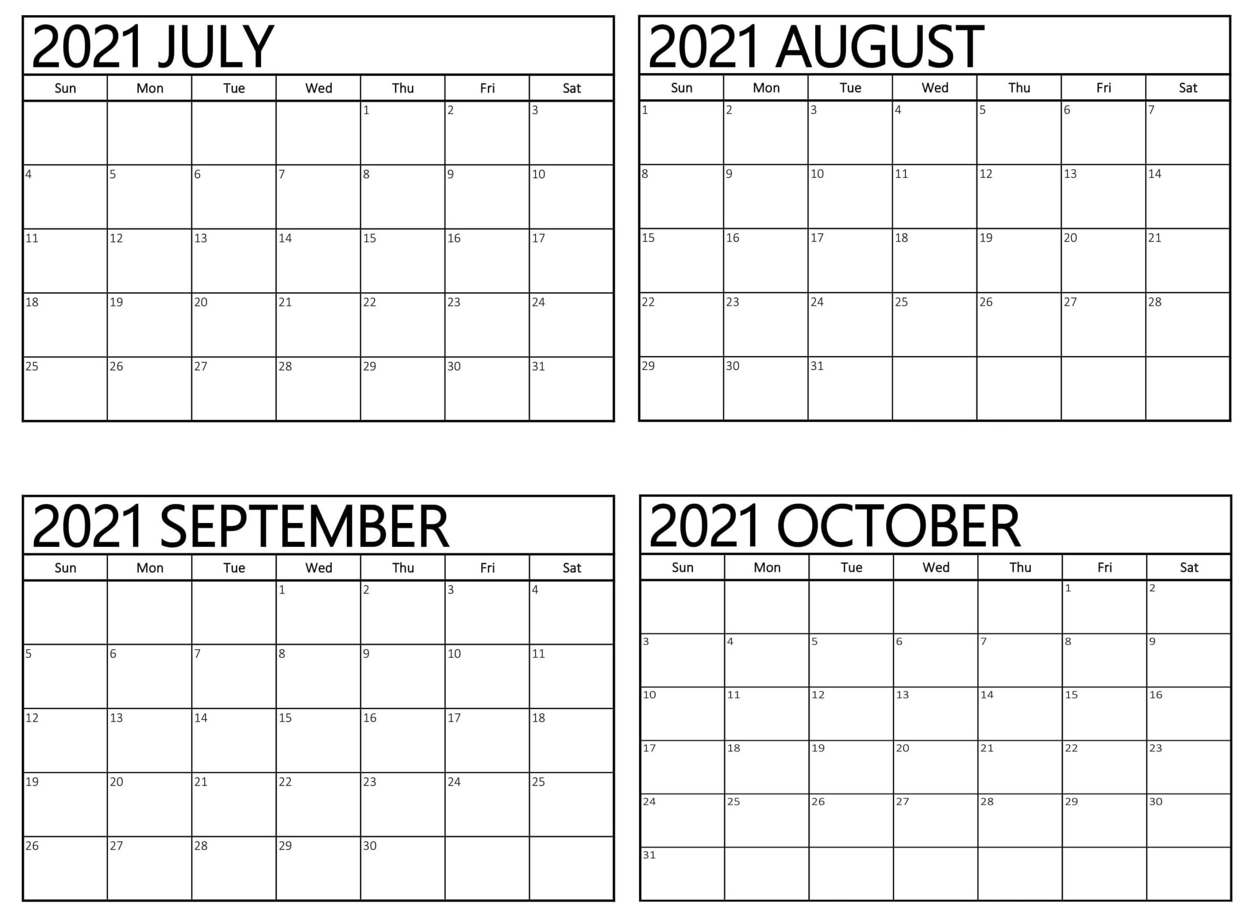 4 Month Calendar From July 2021