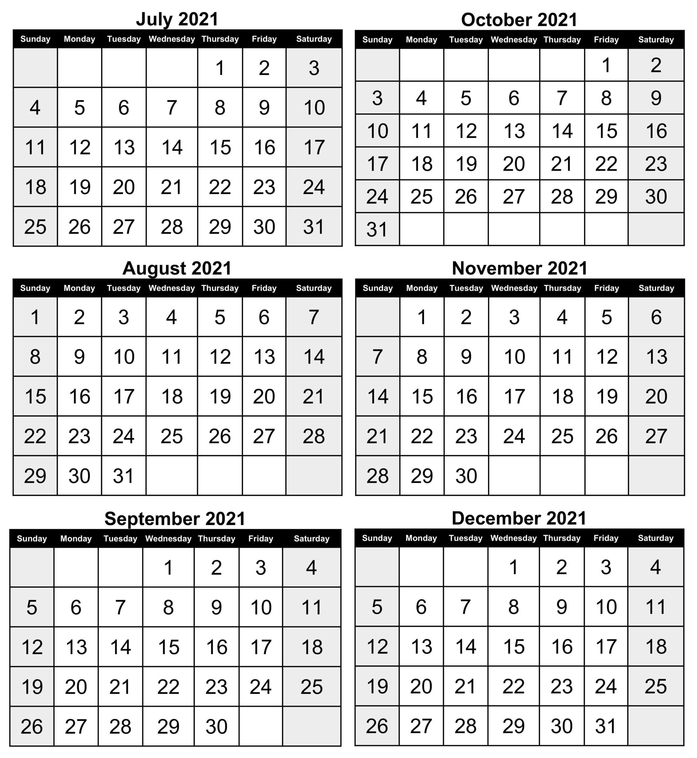 6 Month Calendar July 2021