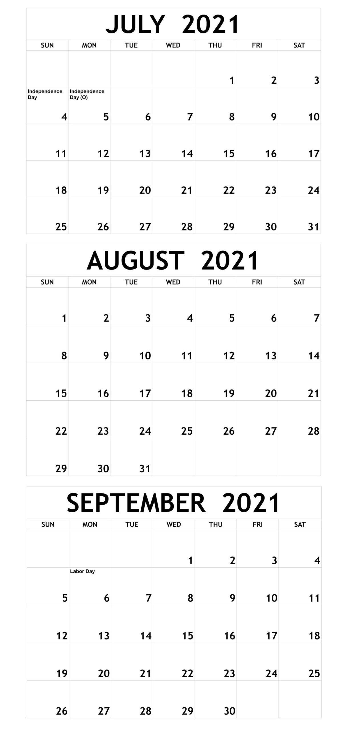 Blank July To September 2021 Calendar