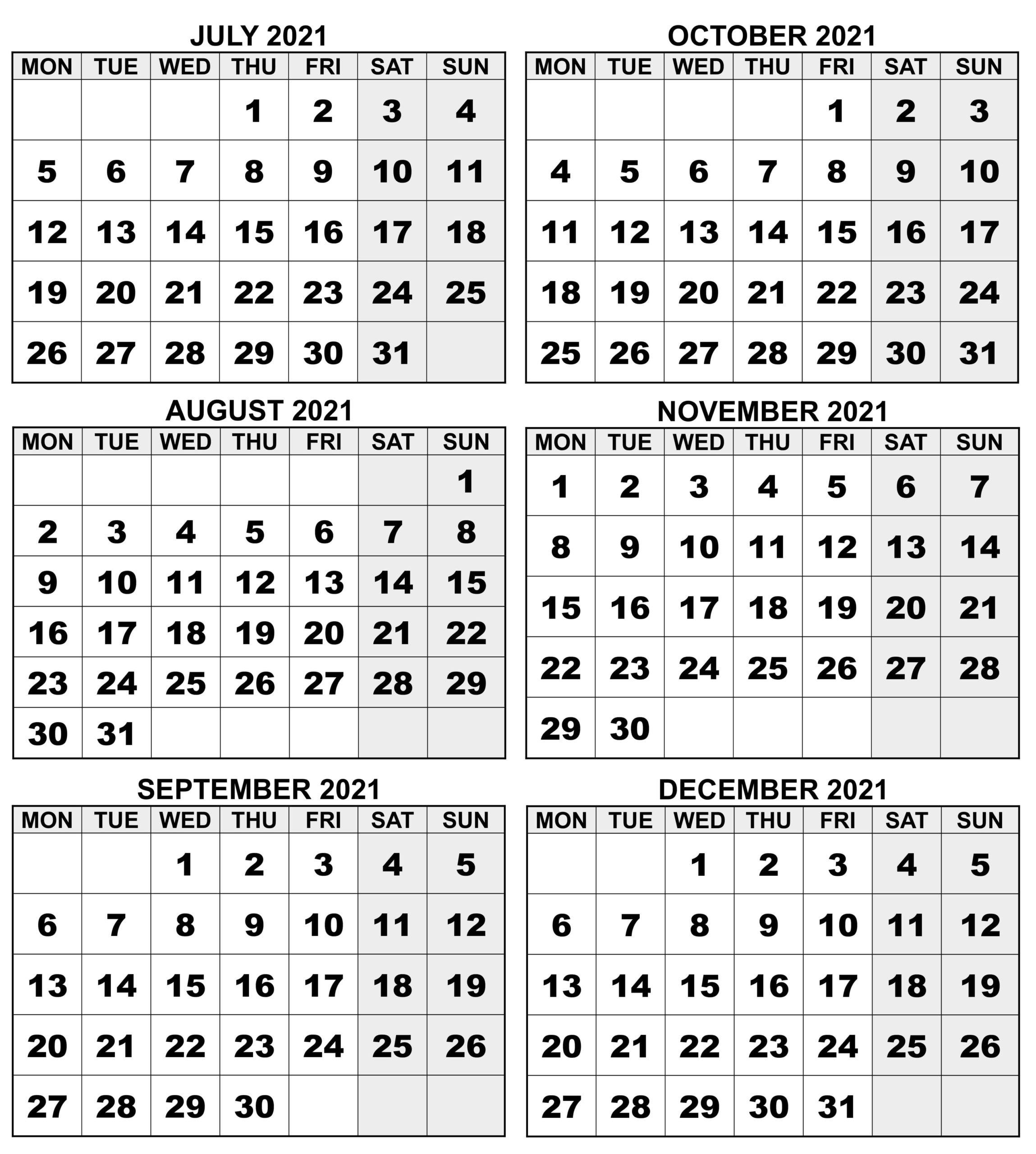Blank July to December 2021 Calendar