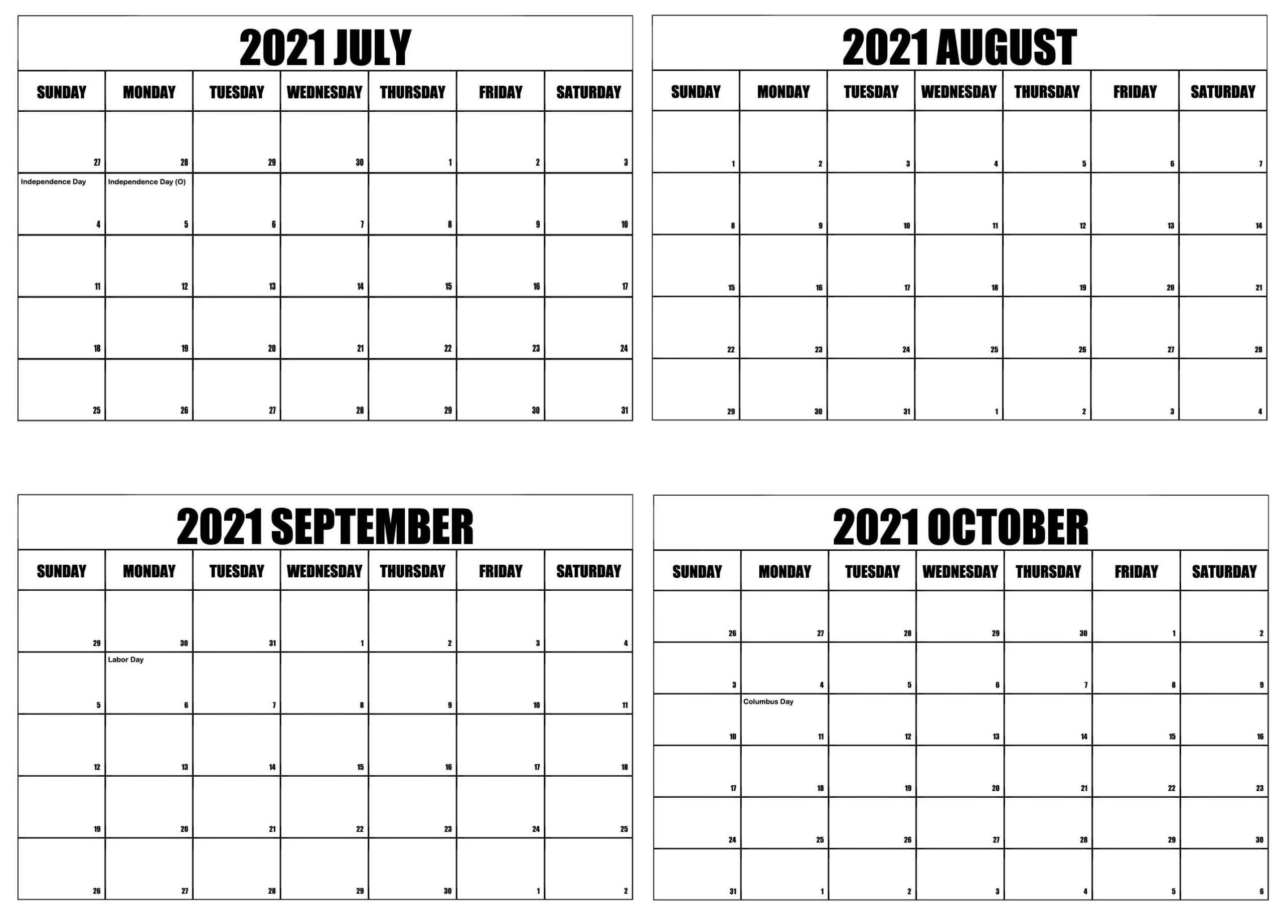 Blank July to October 2021 Calendar