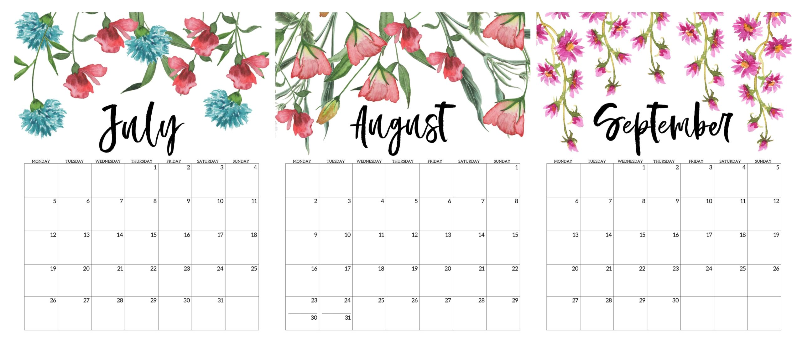 Cute 2021 July To September Calendar