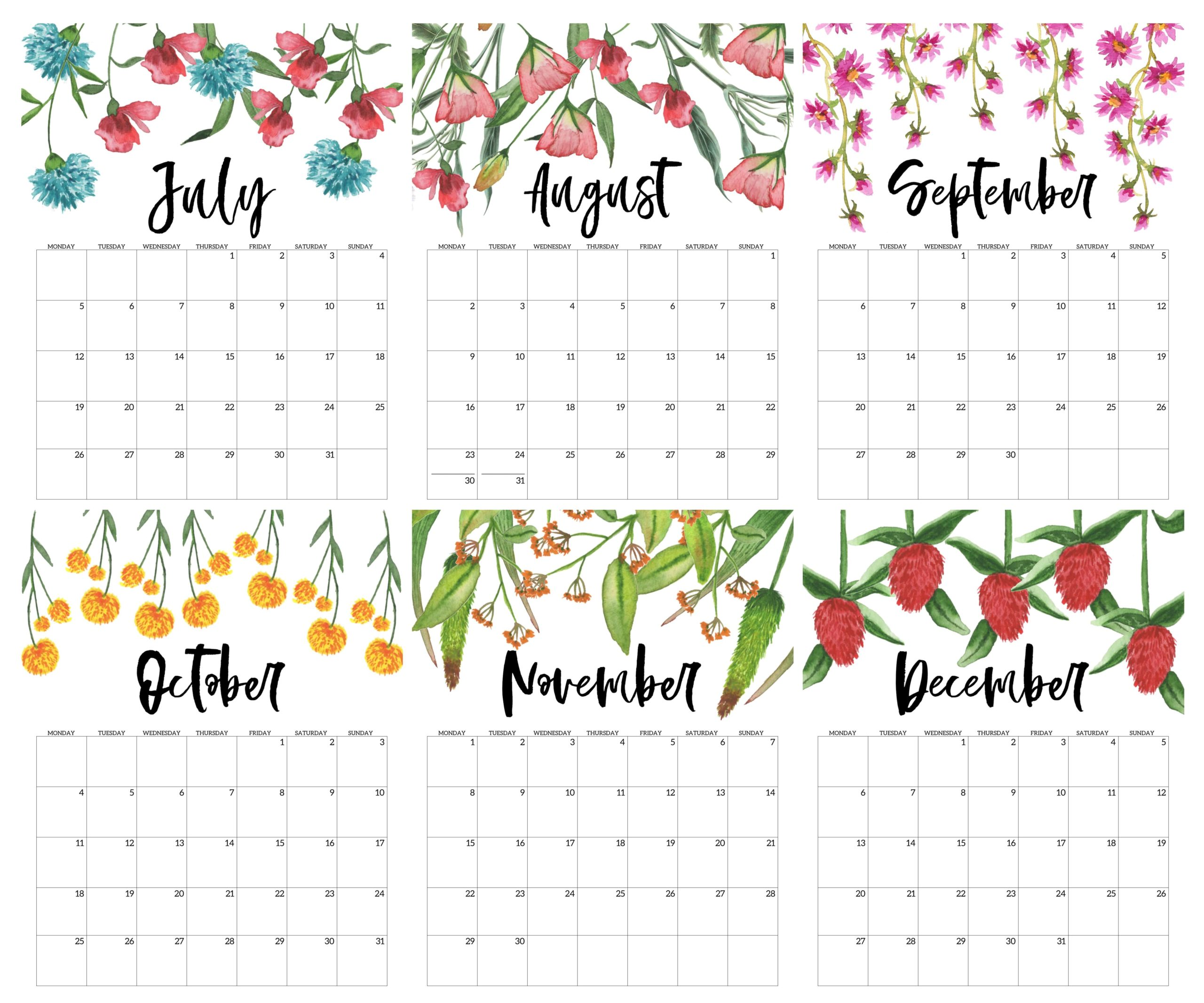 Cute 2021 July to December Calendar