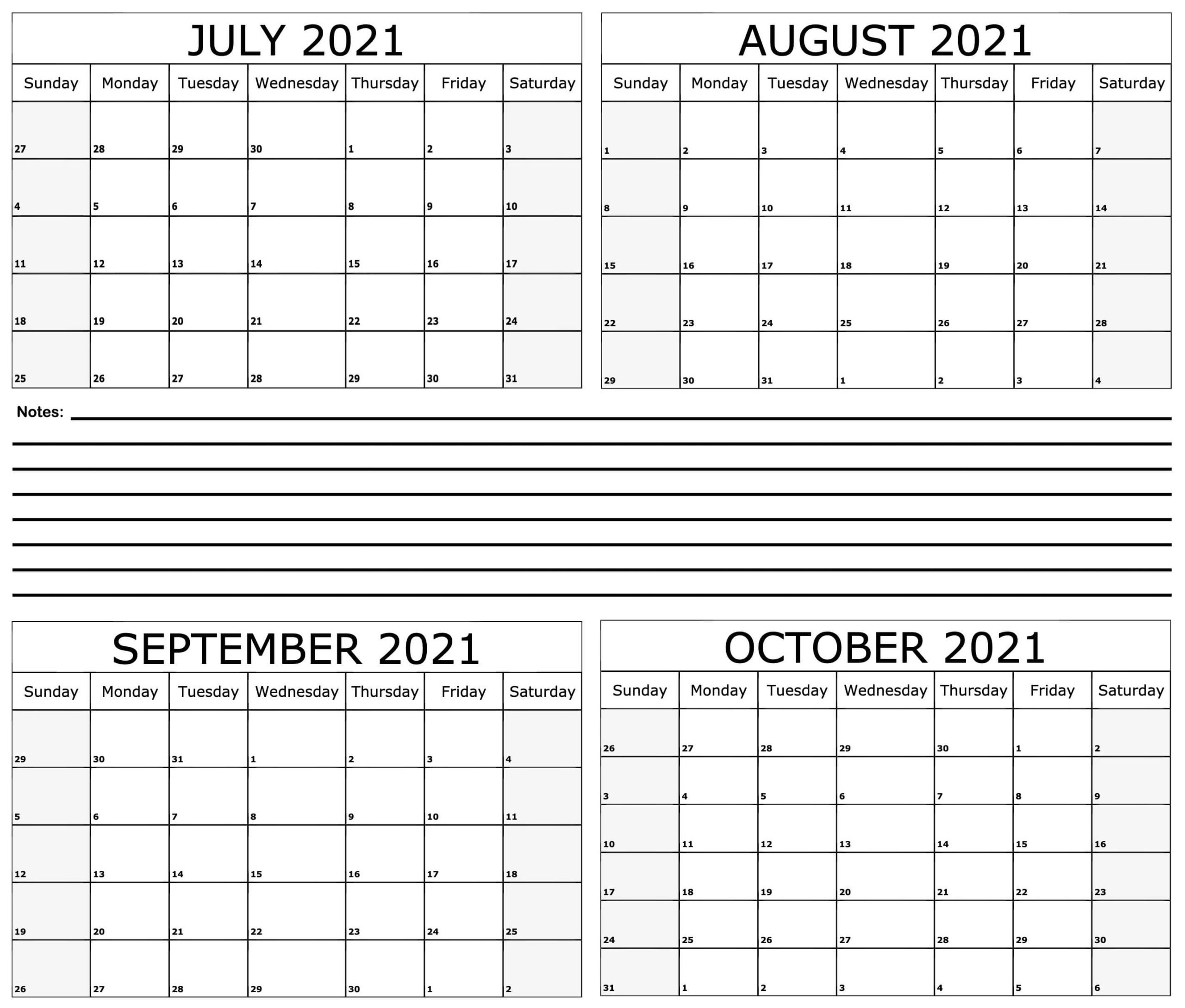 Free July to October 2021 Calendar