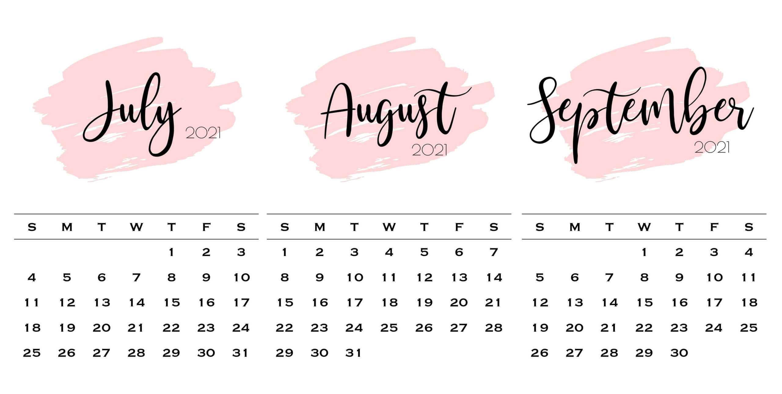 July To September 2021 Calendar Cute