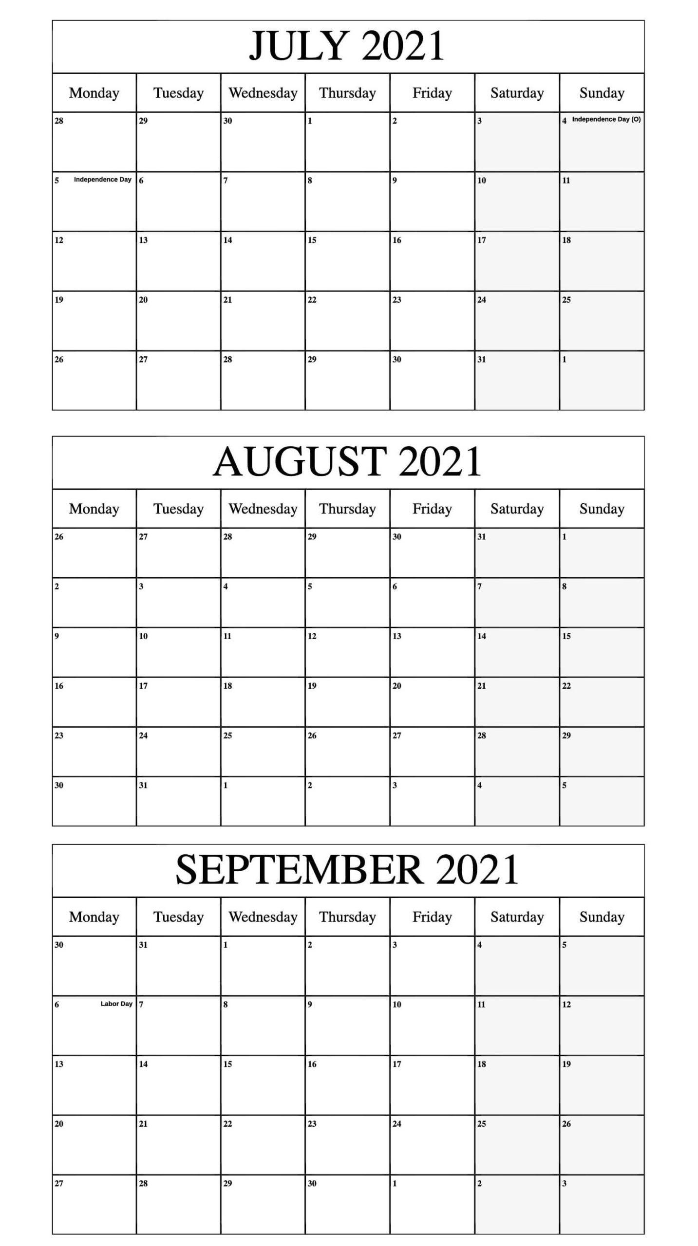 July To September 2021 Calendar Word