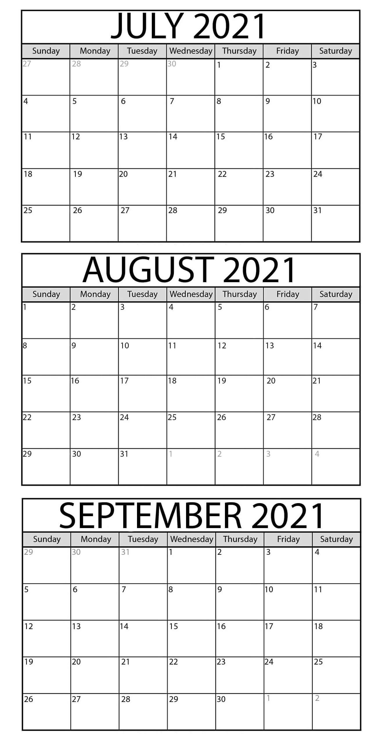 July To September 2021 Calendar
