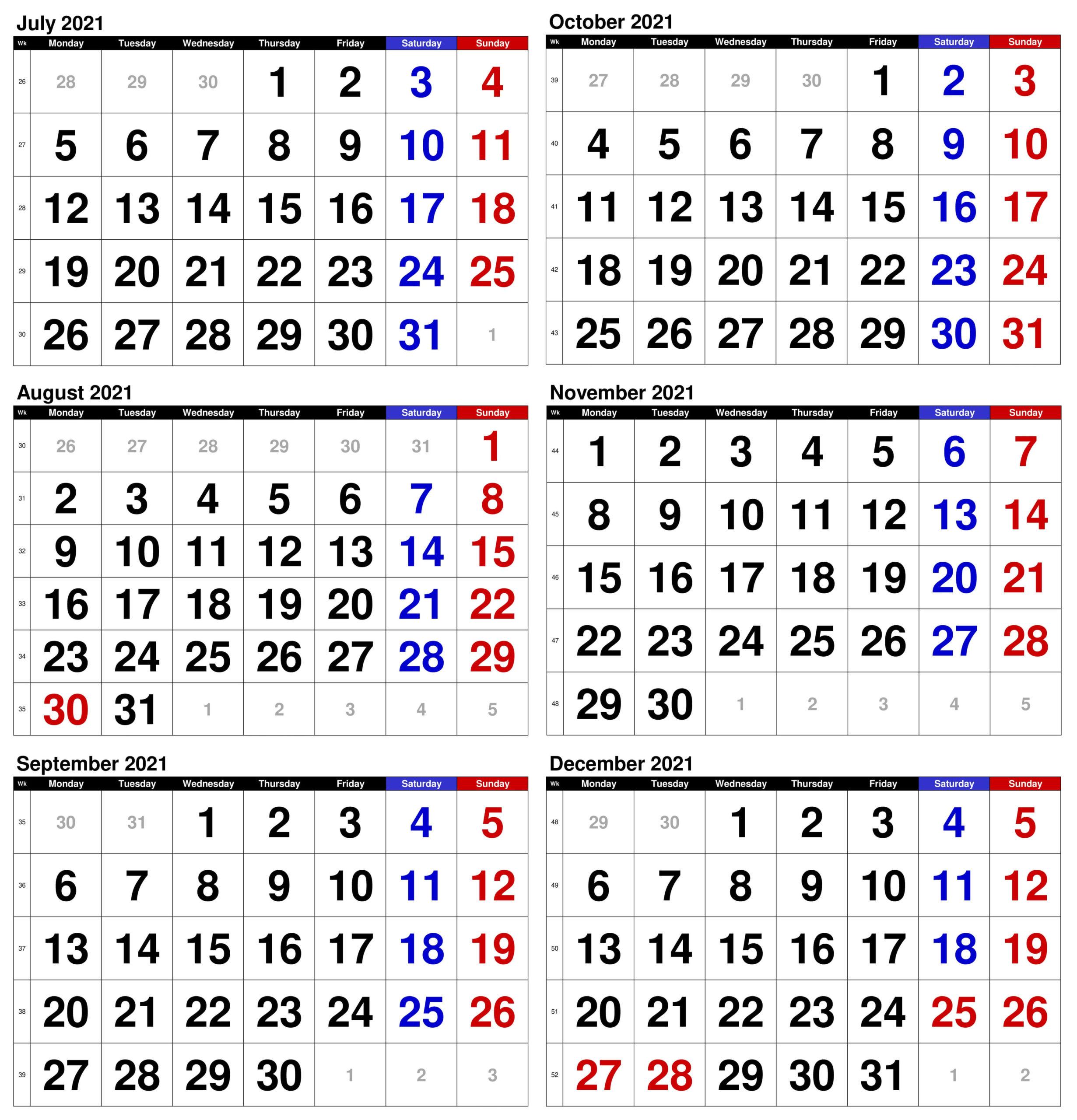 July to December 2021 Calendar Free