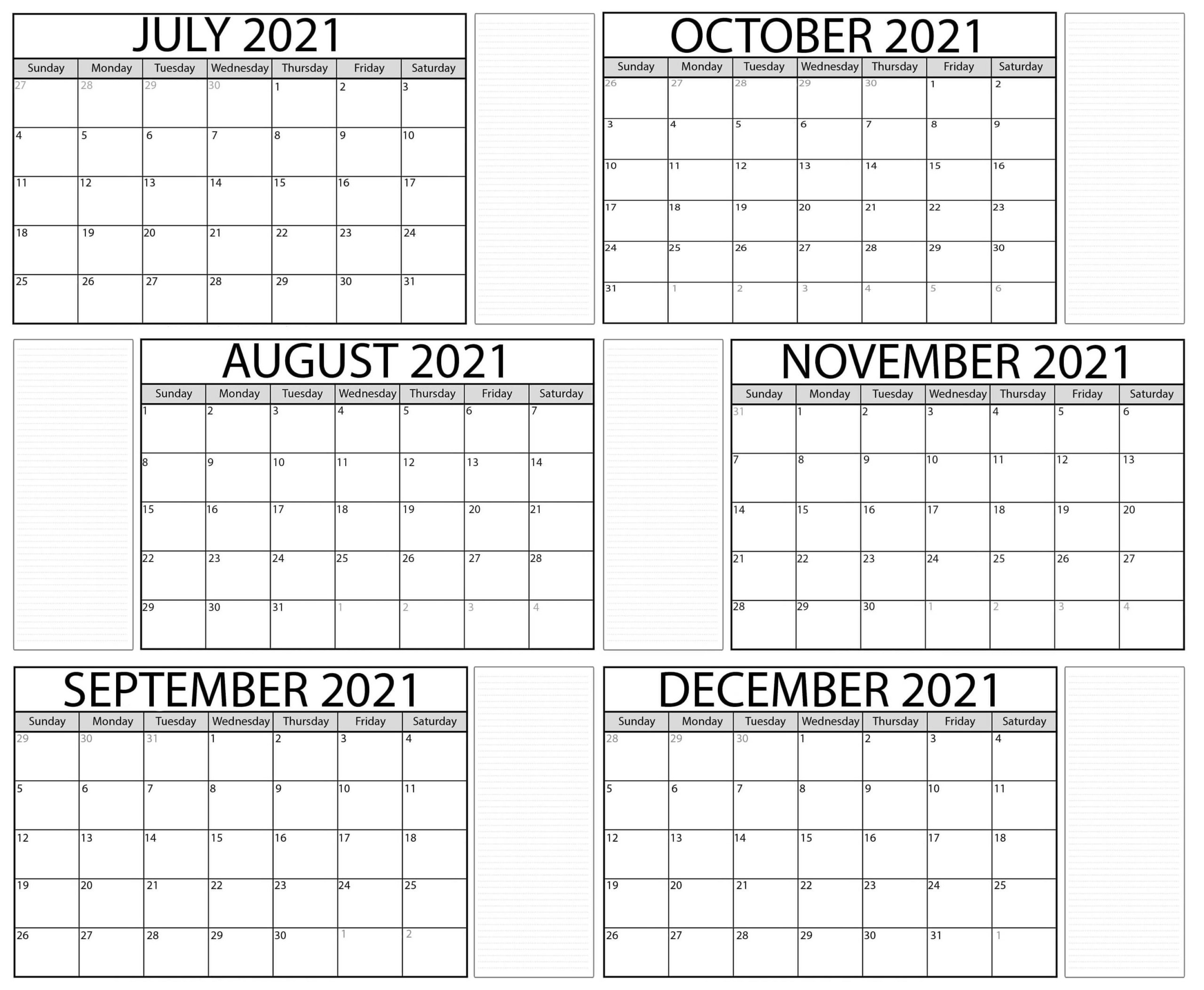 July to December 2021 Calendar