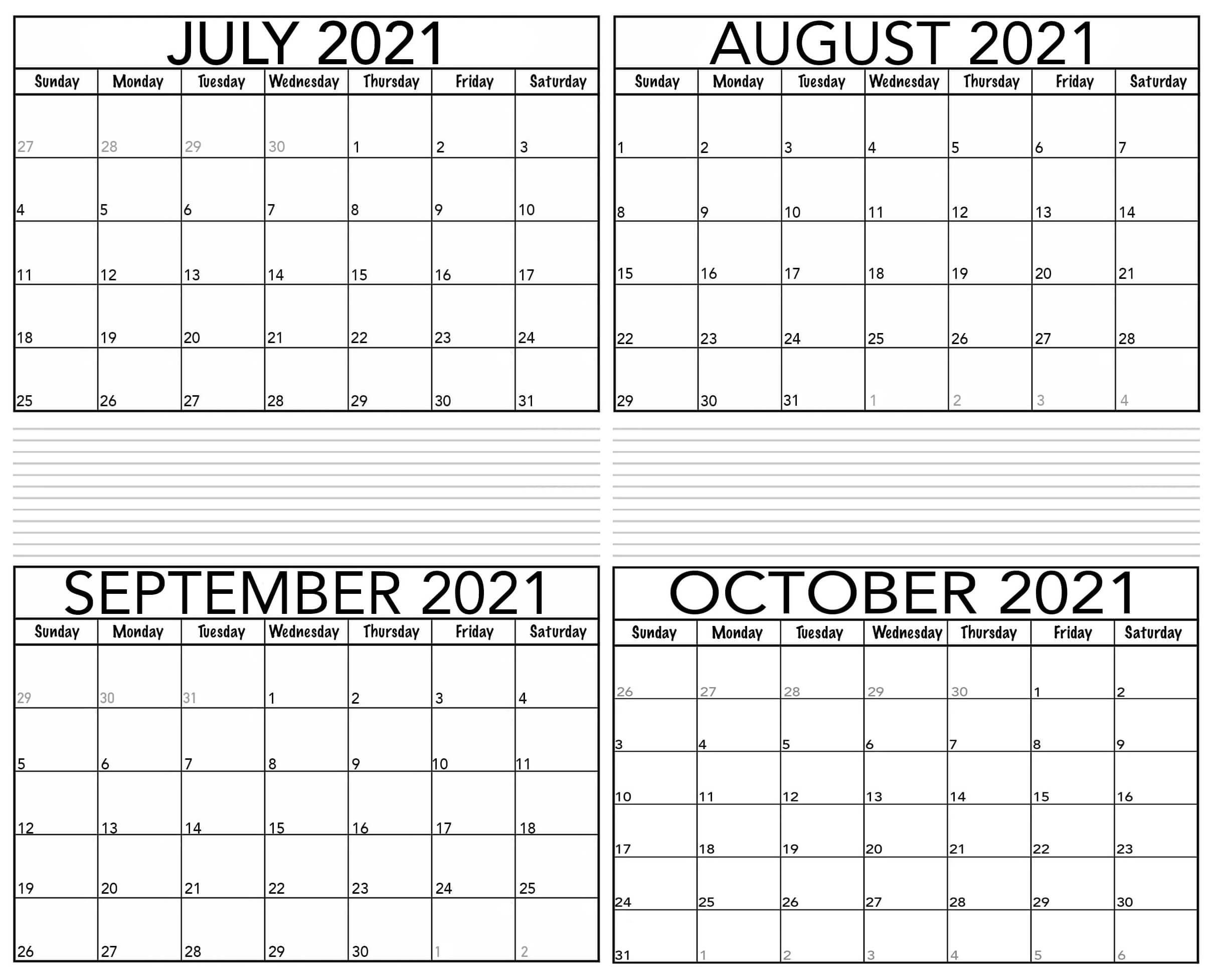 July to October 2021 Calendar Printable