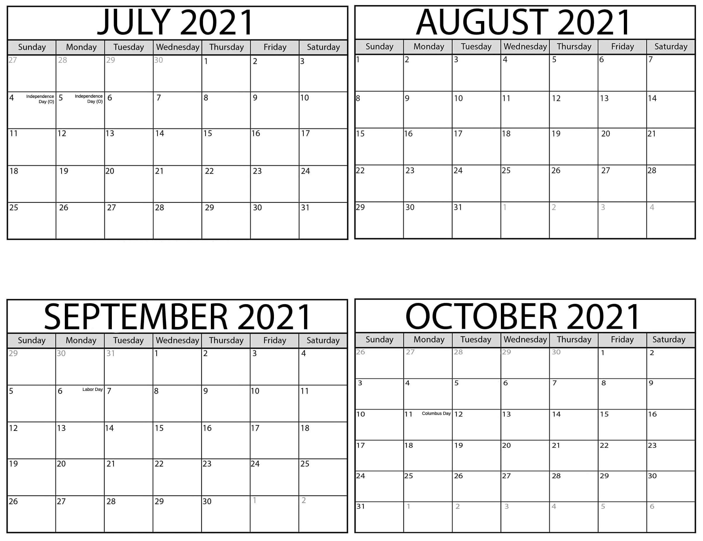 July to October 2021 Calendar