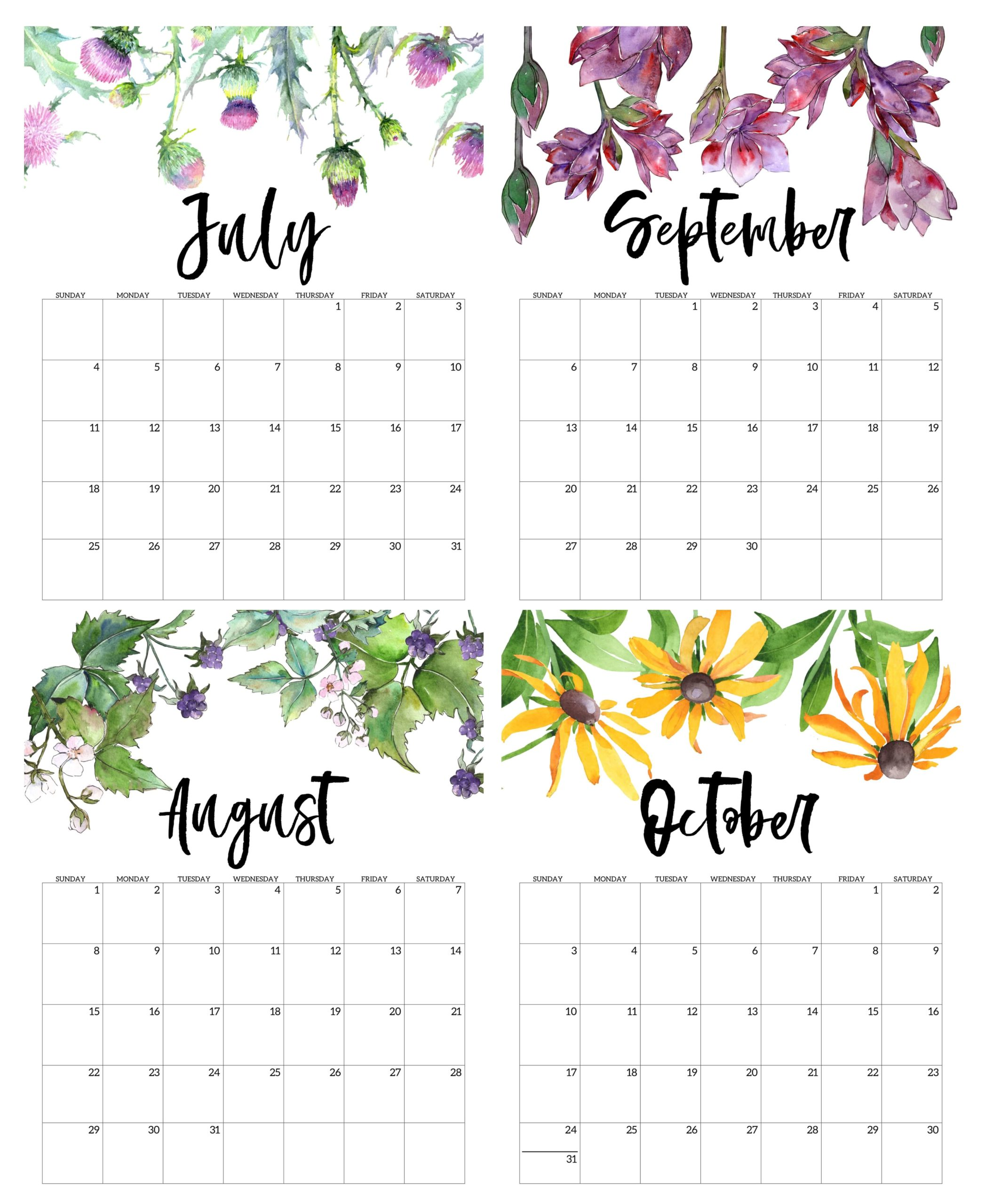July to October Calendar 2021 For Kids