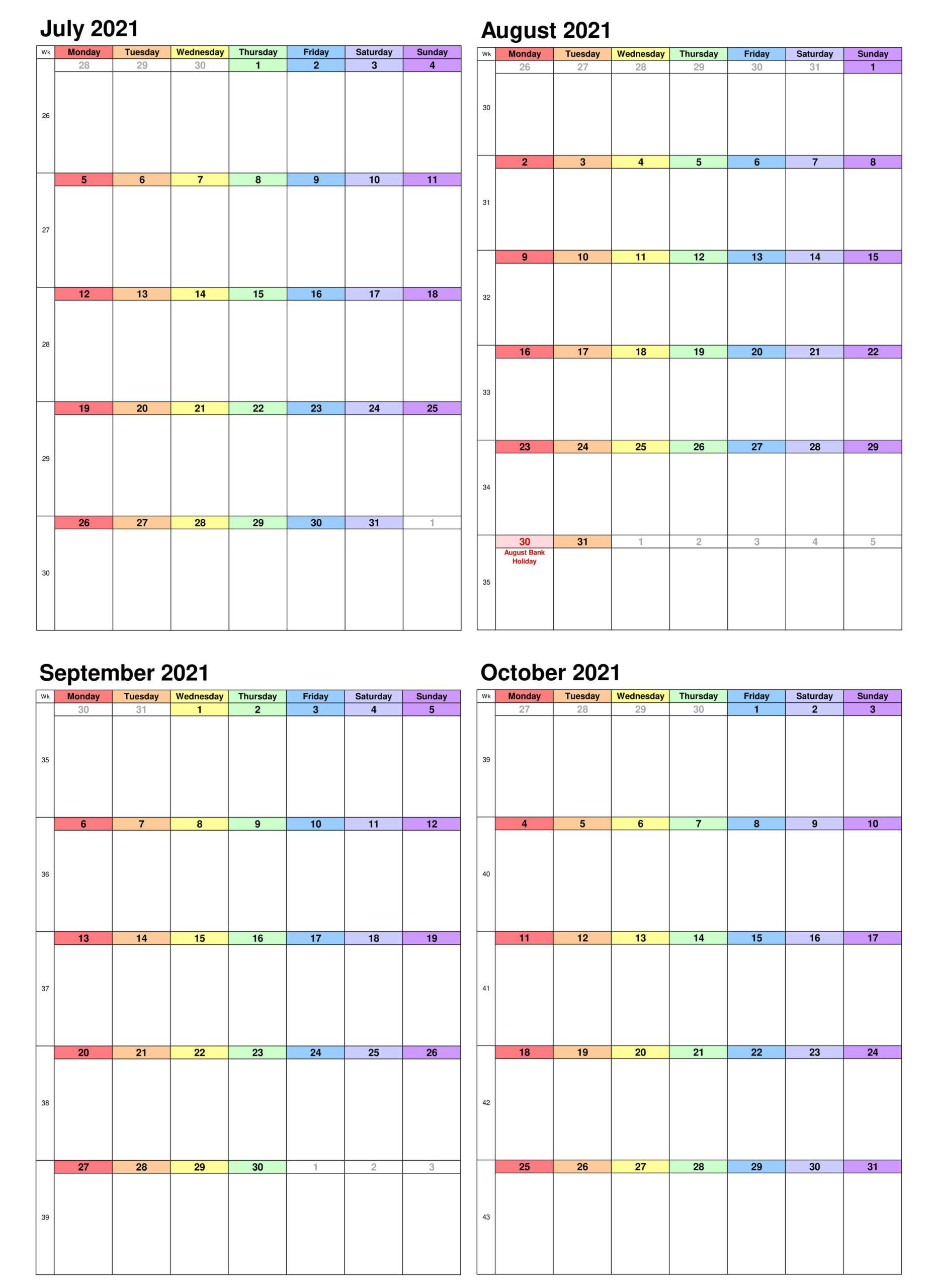 July to October Calendar 2021