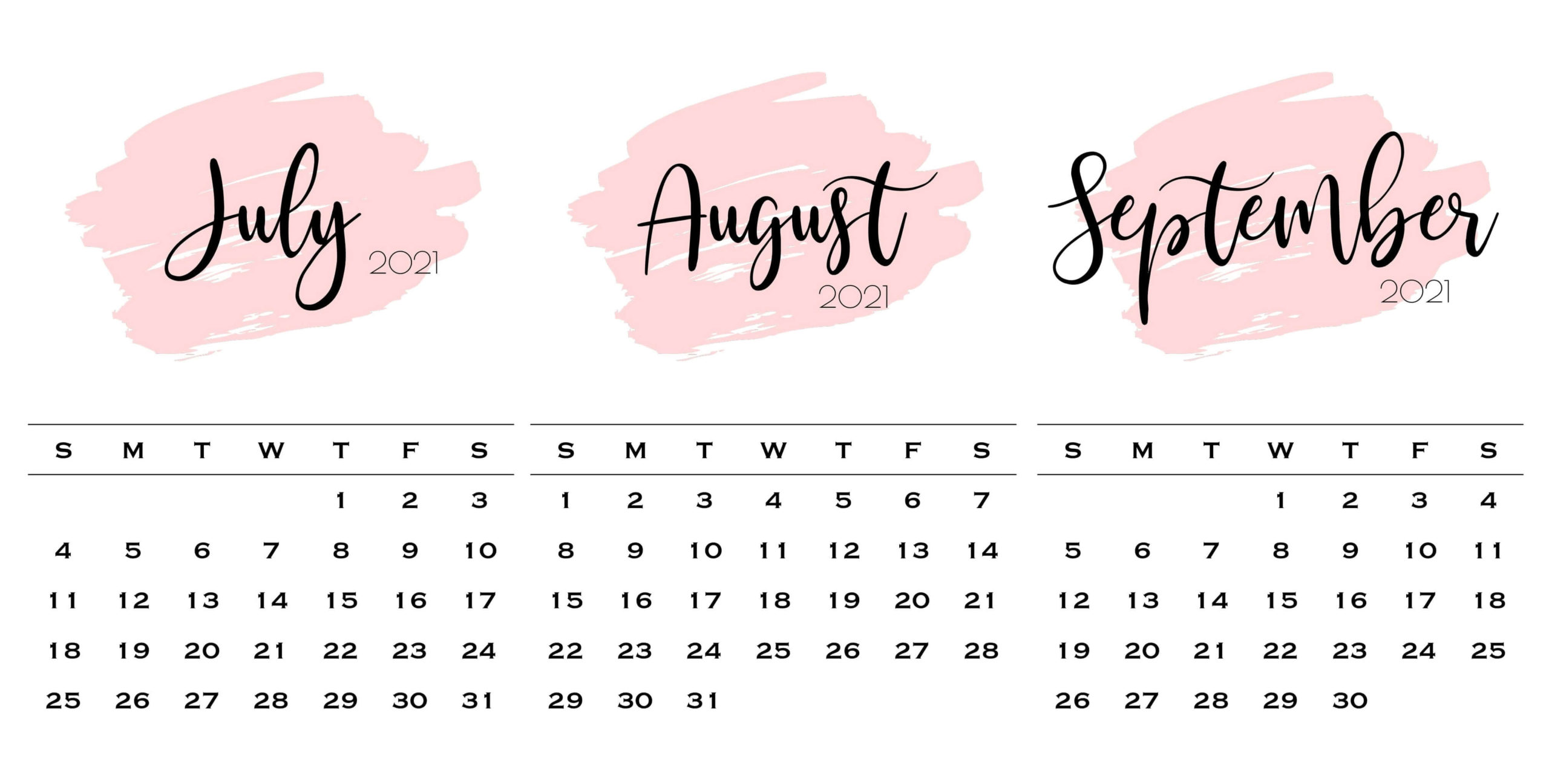 Online July To September 2021 Calendar