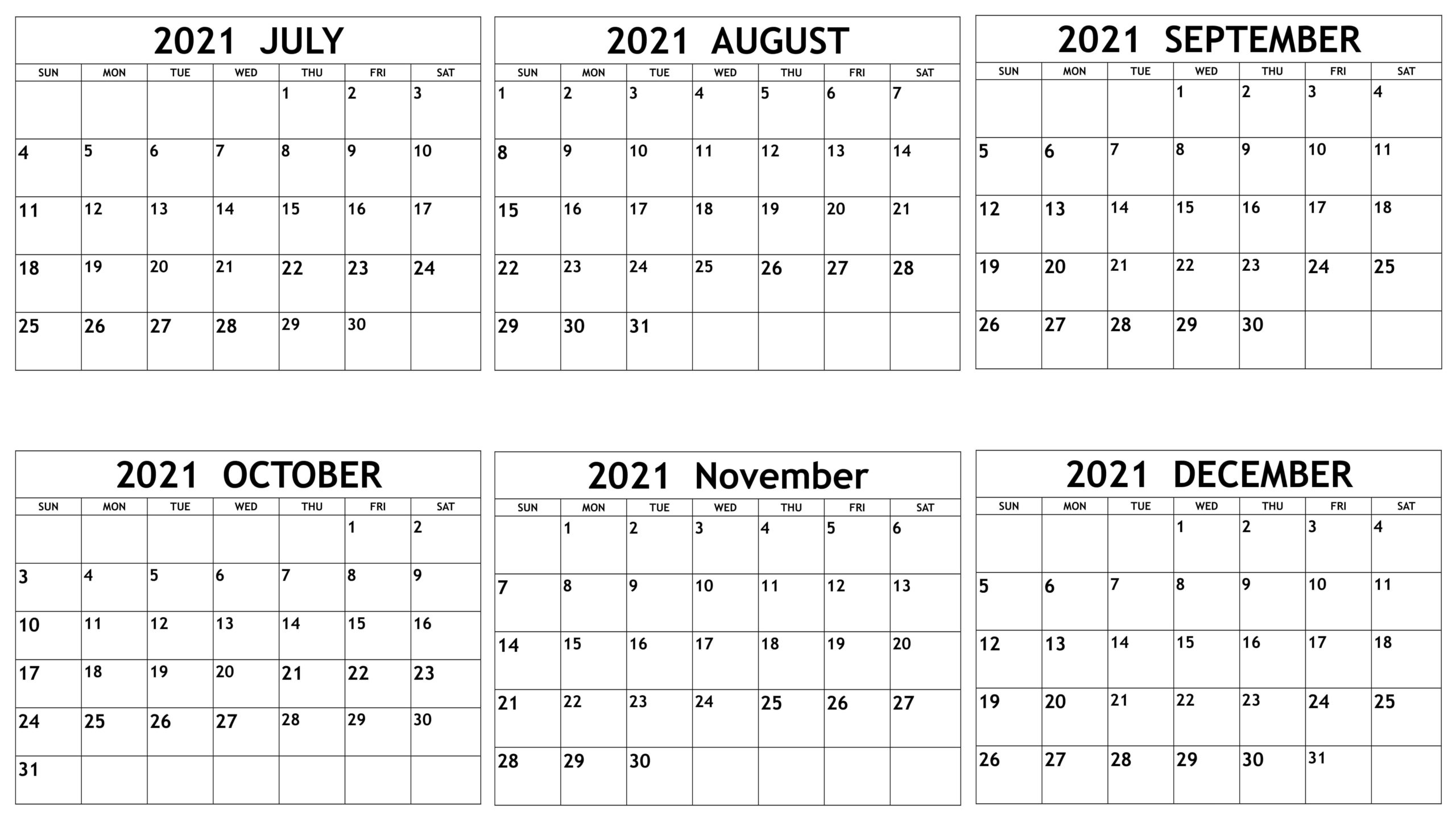 Online July to December 2021 Calendar