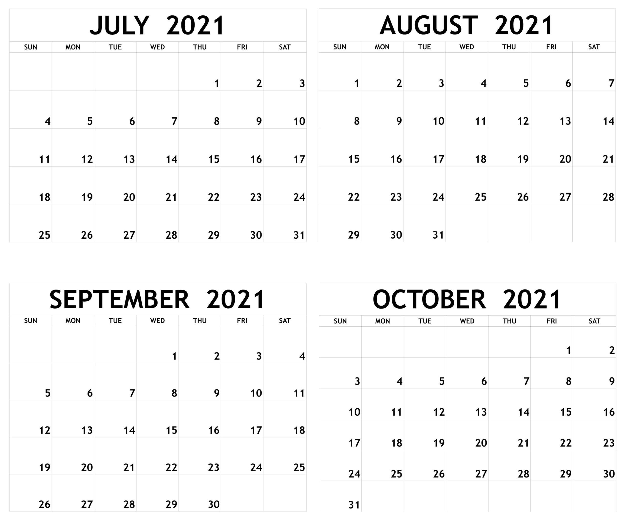 Online July to October 2021 Calendar