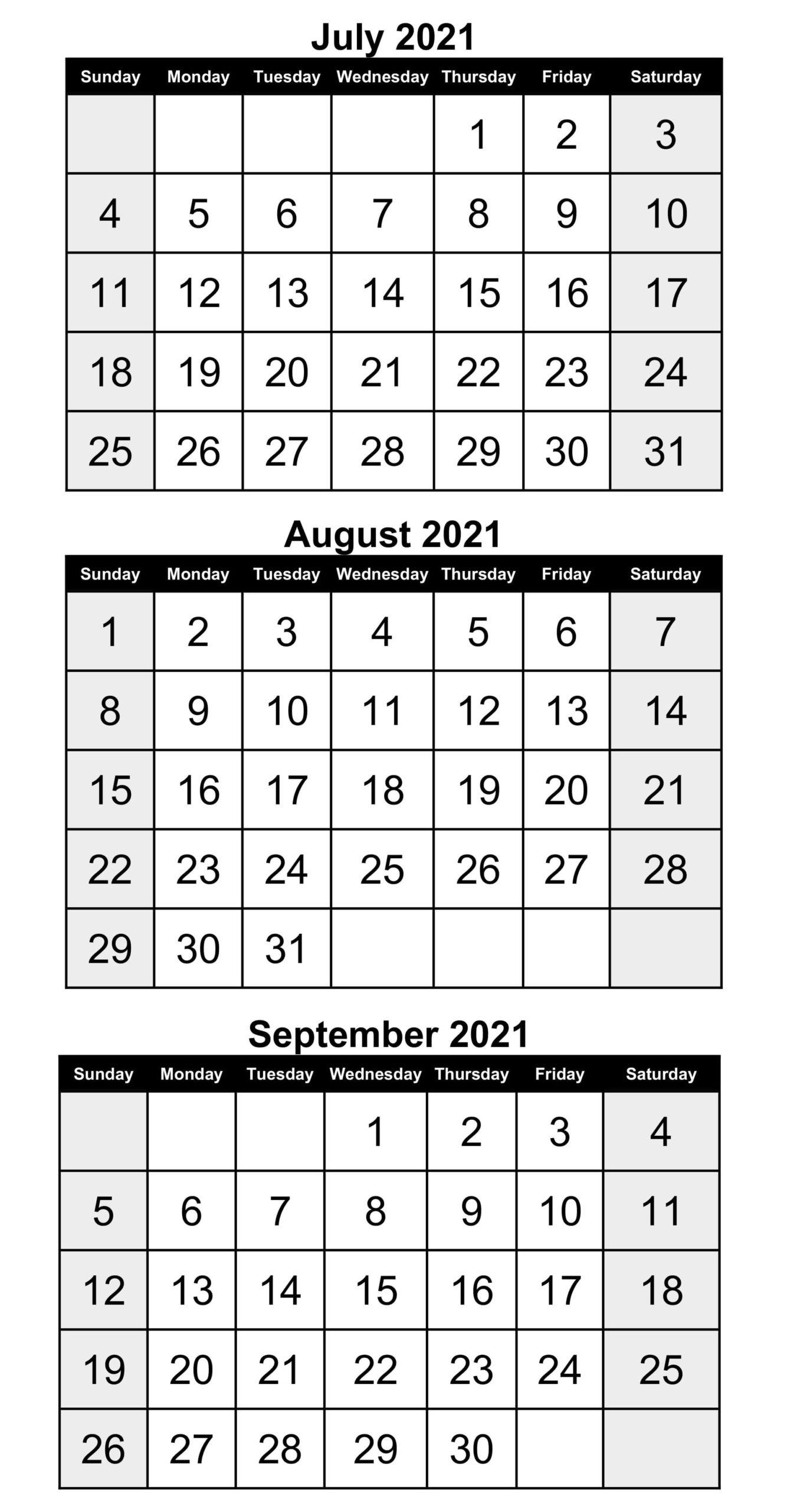 Printable 2021 July To September Calendar