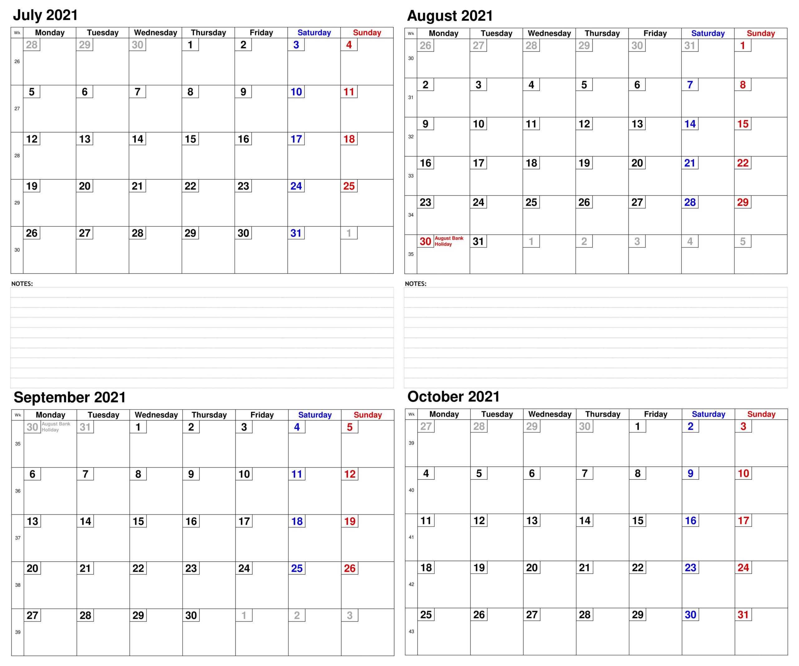 Printable 2021 July to October Calendar