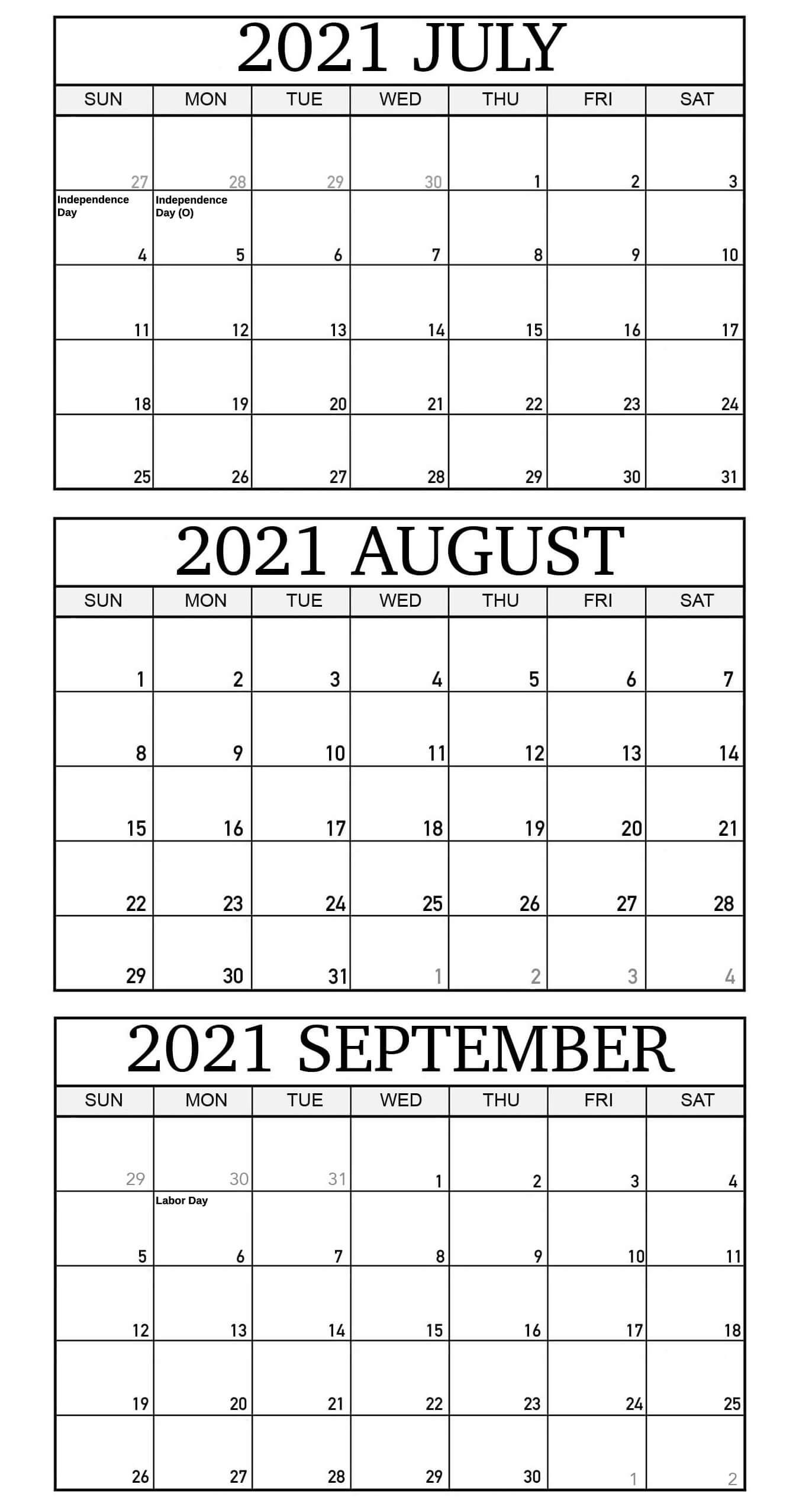 Printable July To September 2021 Calendar