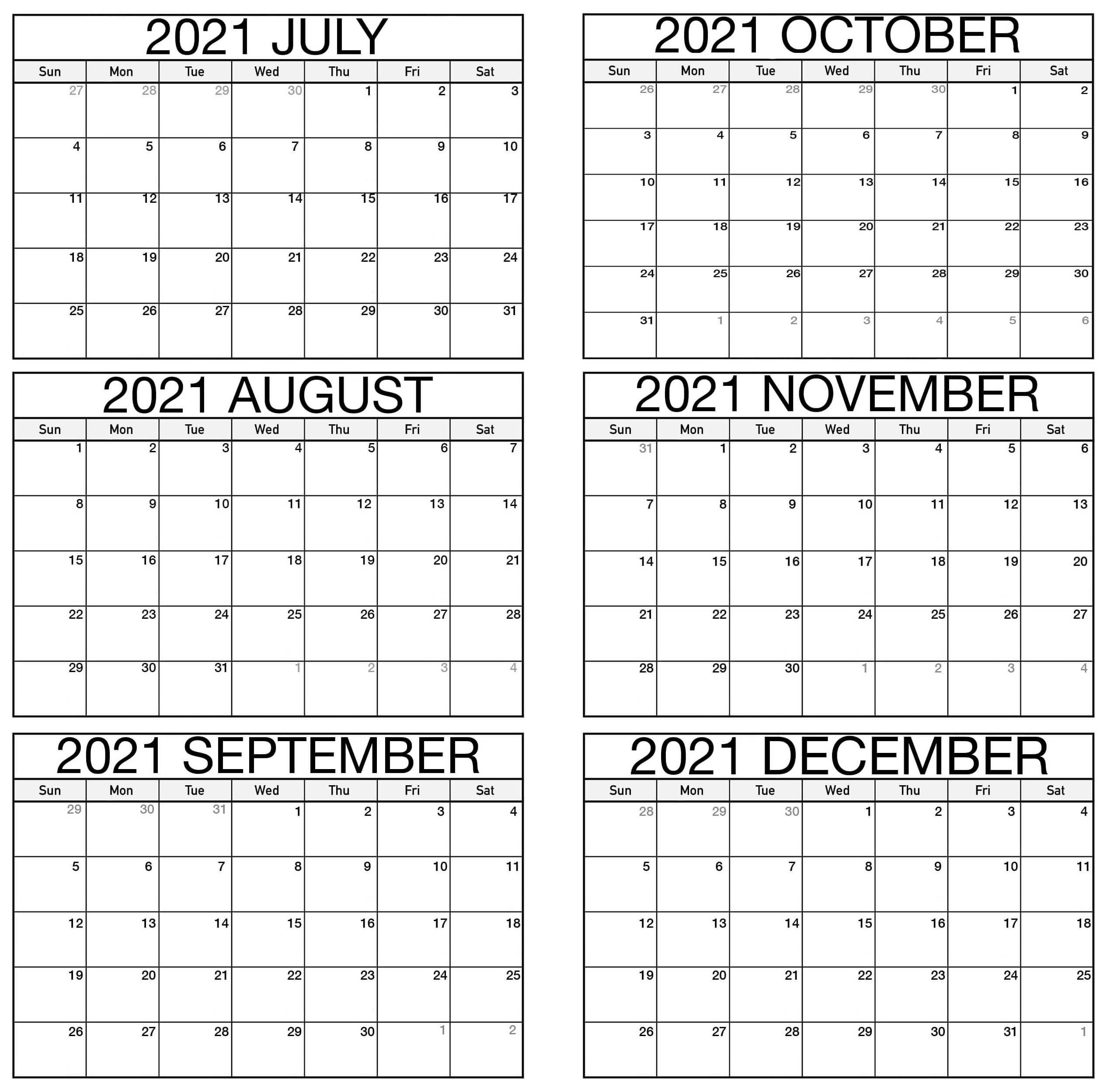 Printable July to December 2021 Calendar